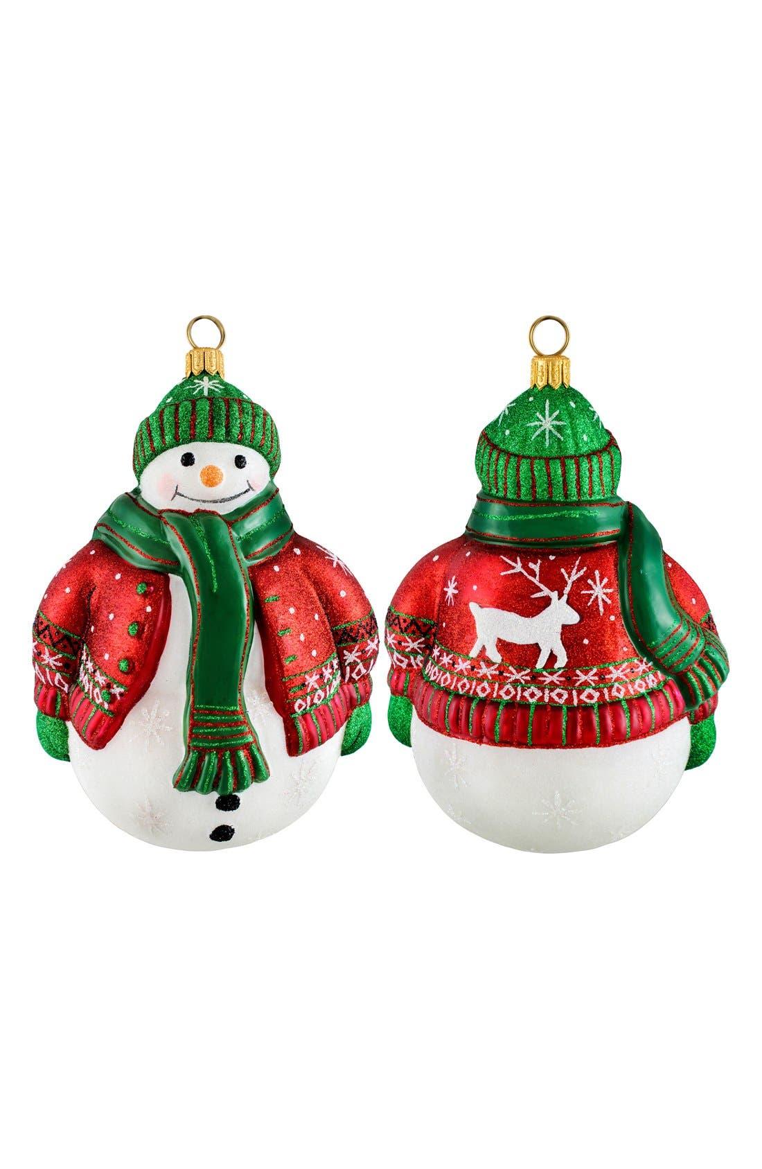 'Glitterazzi' Snowman Ornament,                         Main,                         color, Nordic