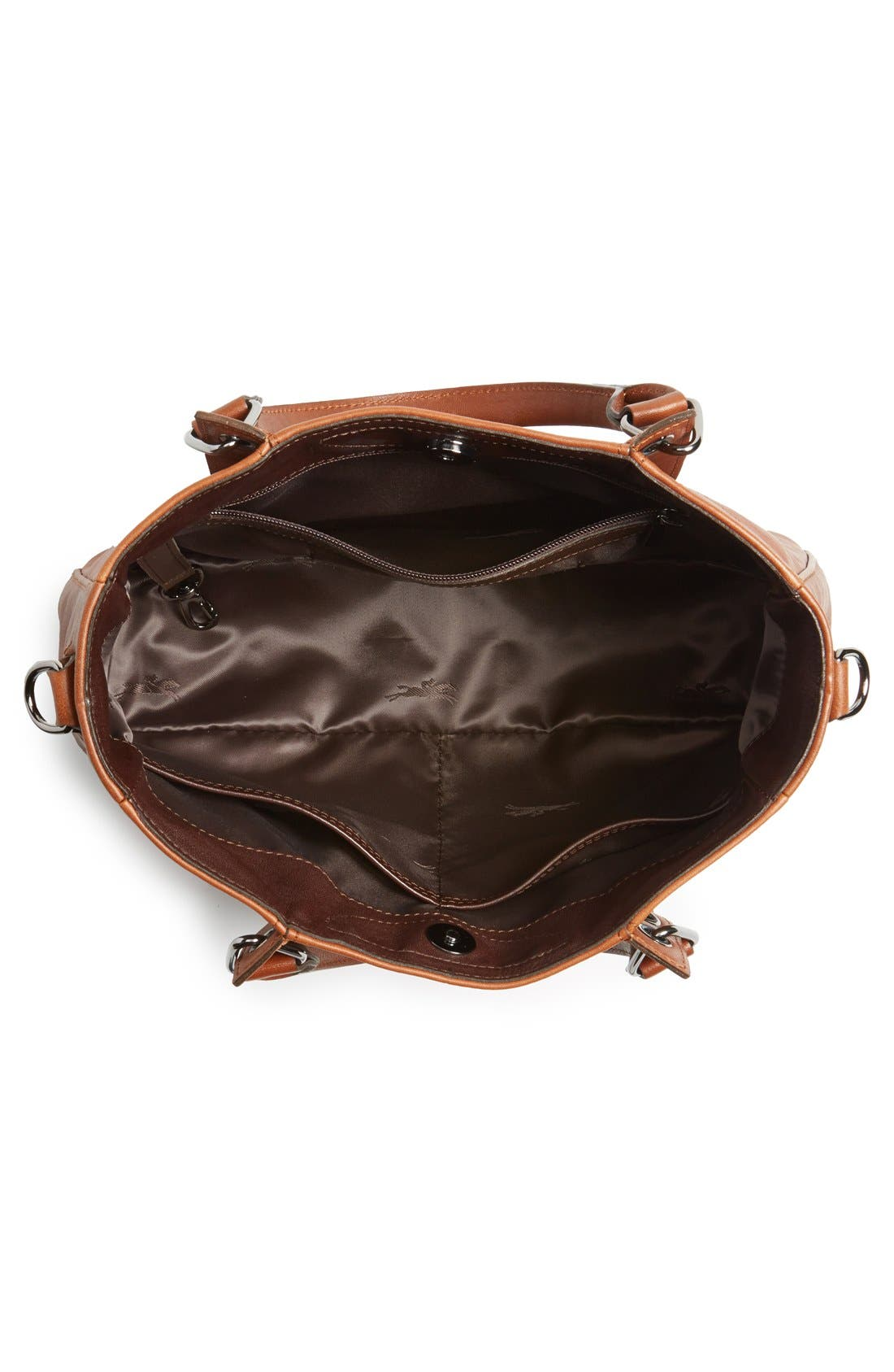 'Small3D' Leather Tote,                             Alternate thumbnail 4, color,                             Cognac