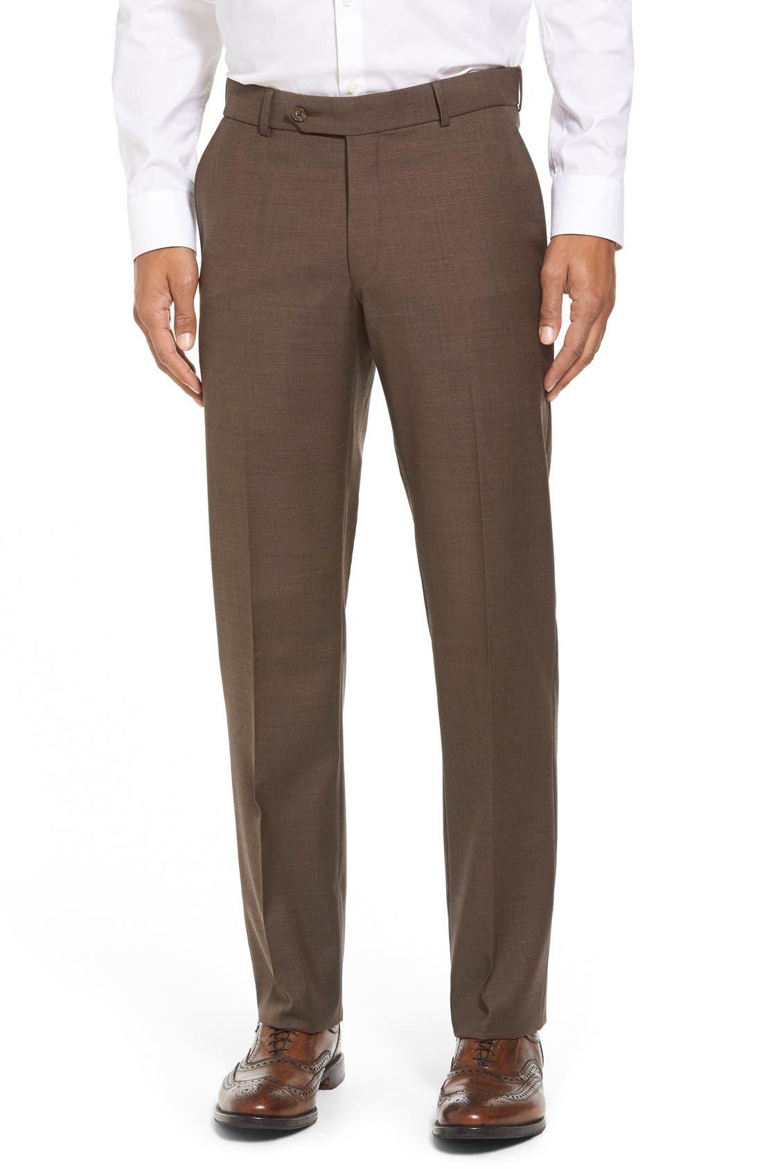 BALLIN Flat Front Sharkskin Wool Trousers in Chestnut