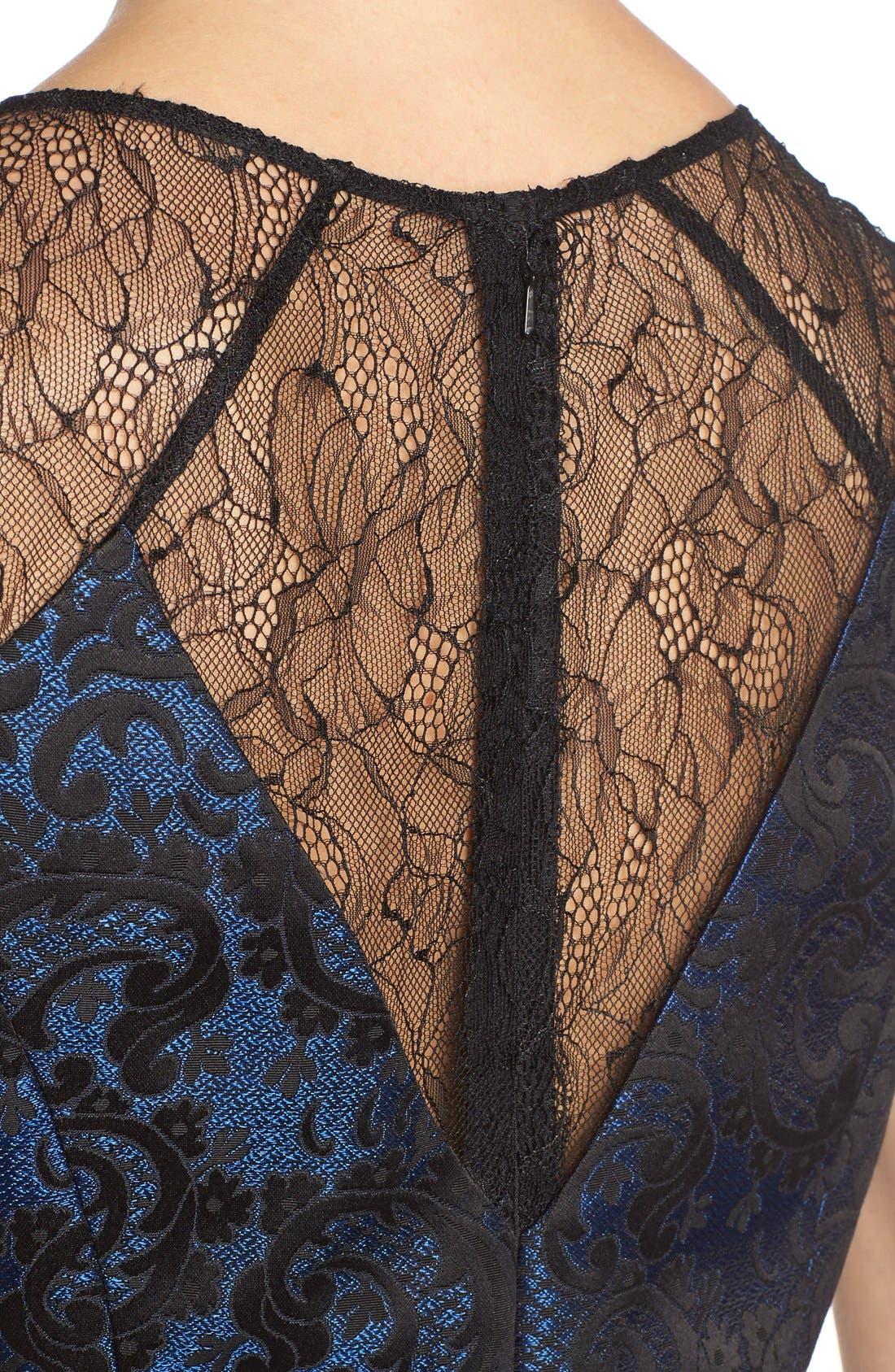 Alternate Image 5  - Aidan by Aidan MattoxLace BackJacquard Fit & Flare Dress