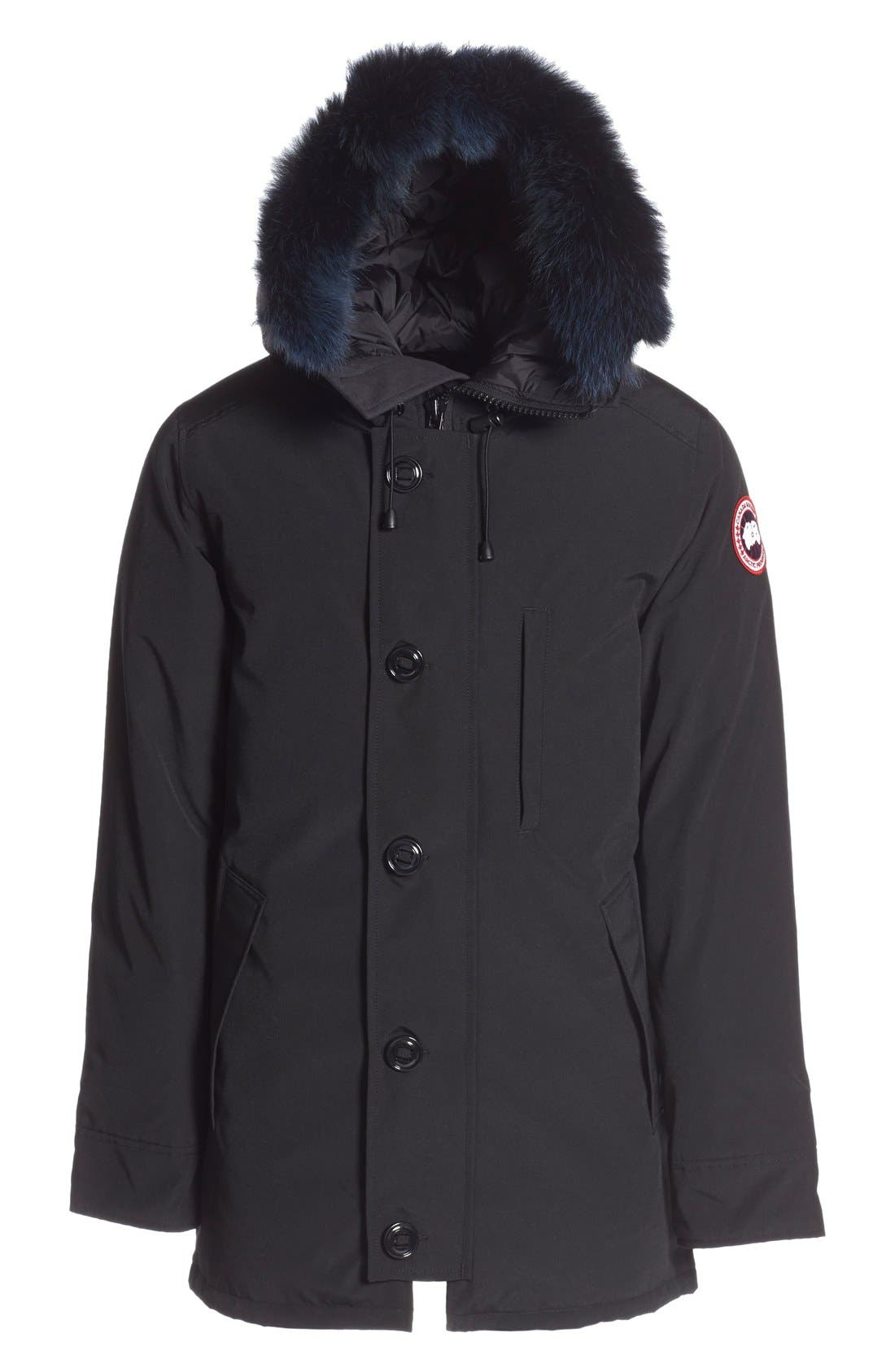 canada goose 'chateau' slim fit genuine coyote fur trim jacket