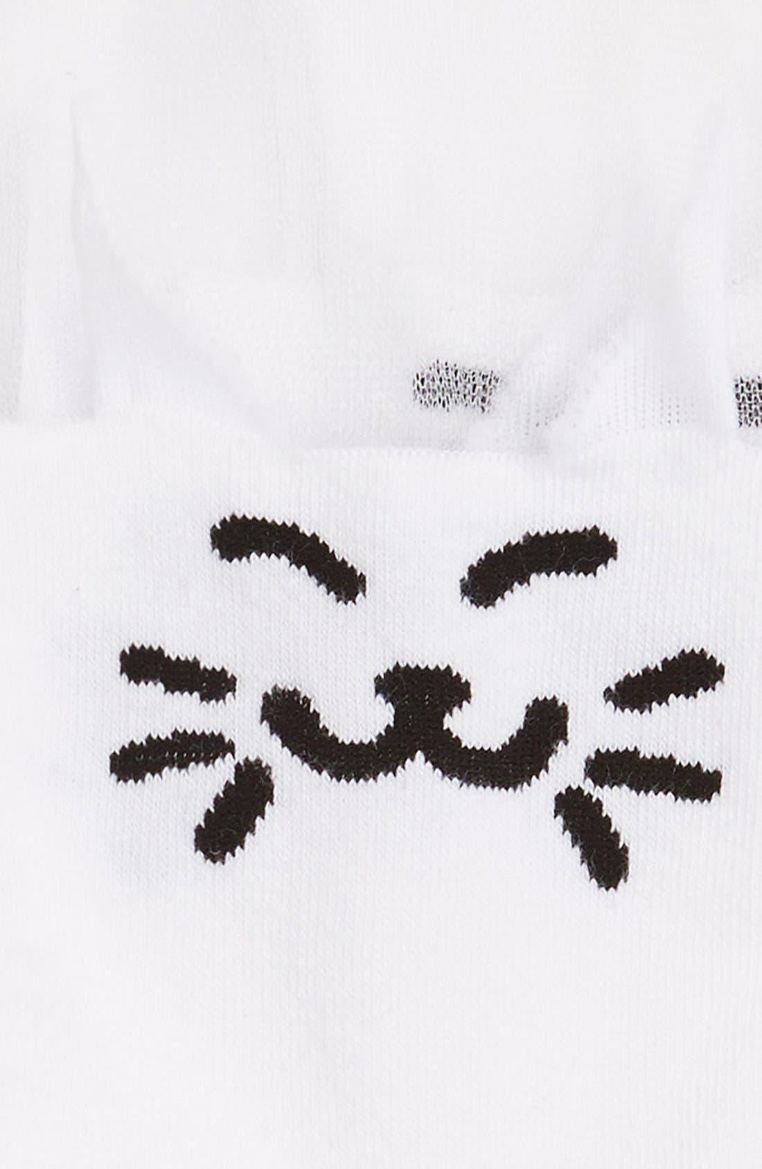 Alternate Image 2  - Girly'Cat Face' Semi-SheerSocks