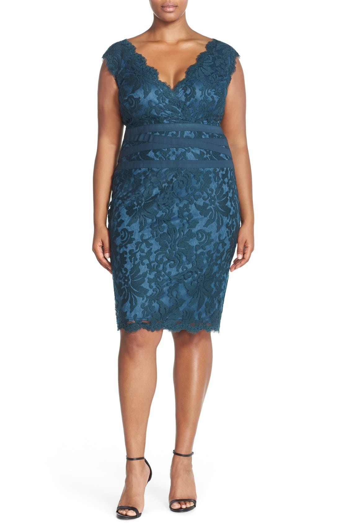 Main Image - Tadashi Shoji Embroidered Lace Sheath Dress (Plus Size)
