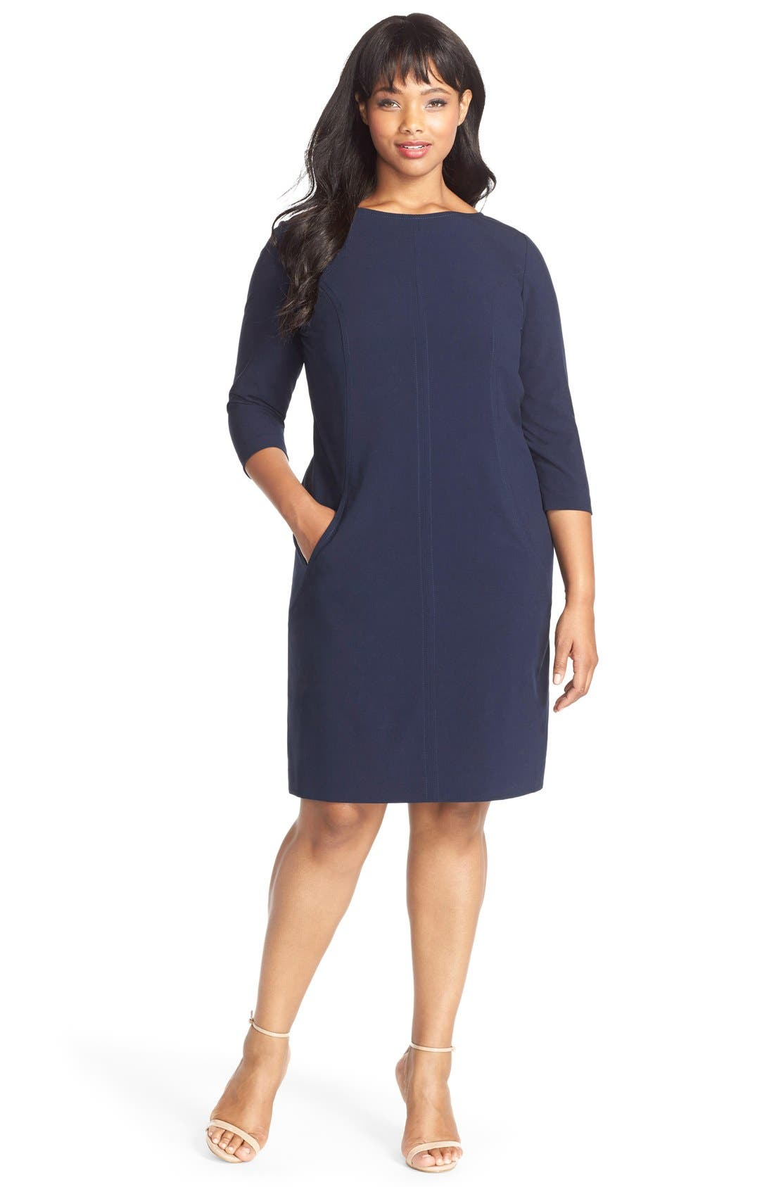 by Arthur S. Levine Seamed A-Line Dress,                             Alternate thumbnail 3, color,                             Navy