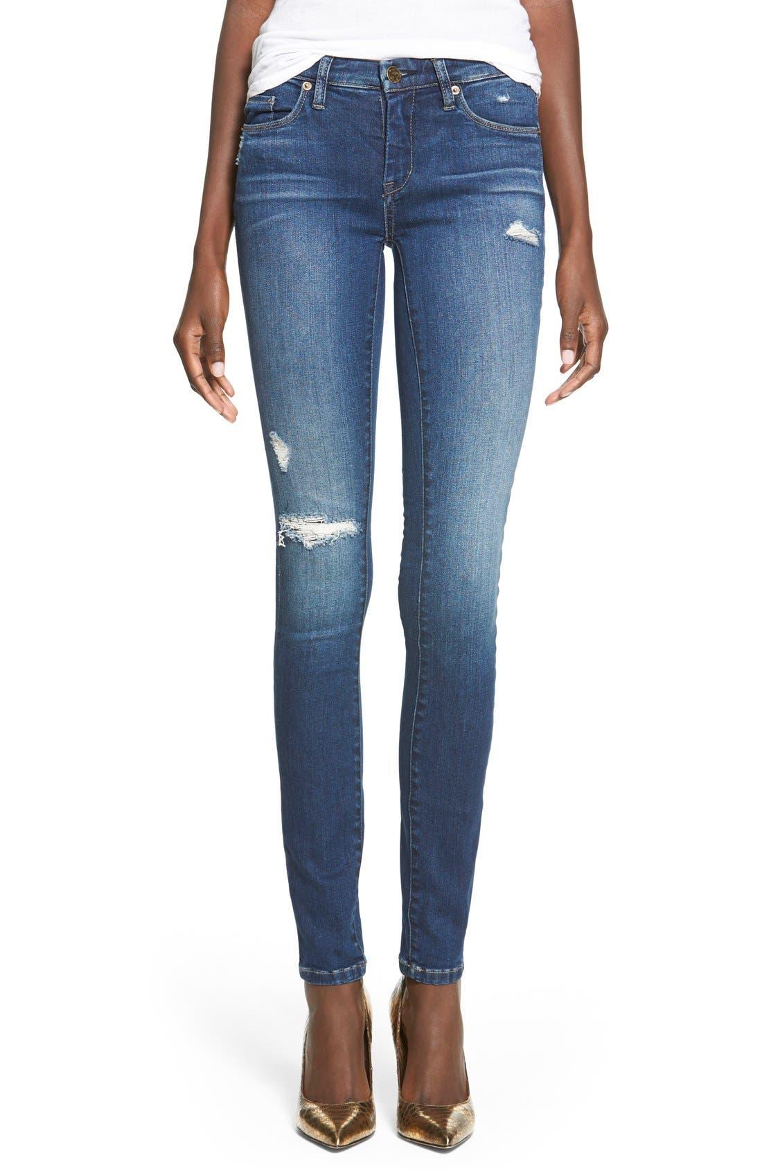 Main Image - BLANKNYC'Hotel' Distressed Skinny Jeans (Blue)