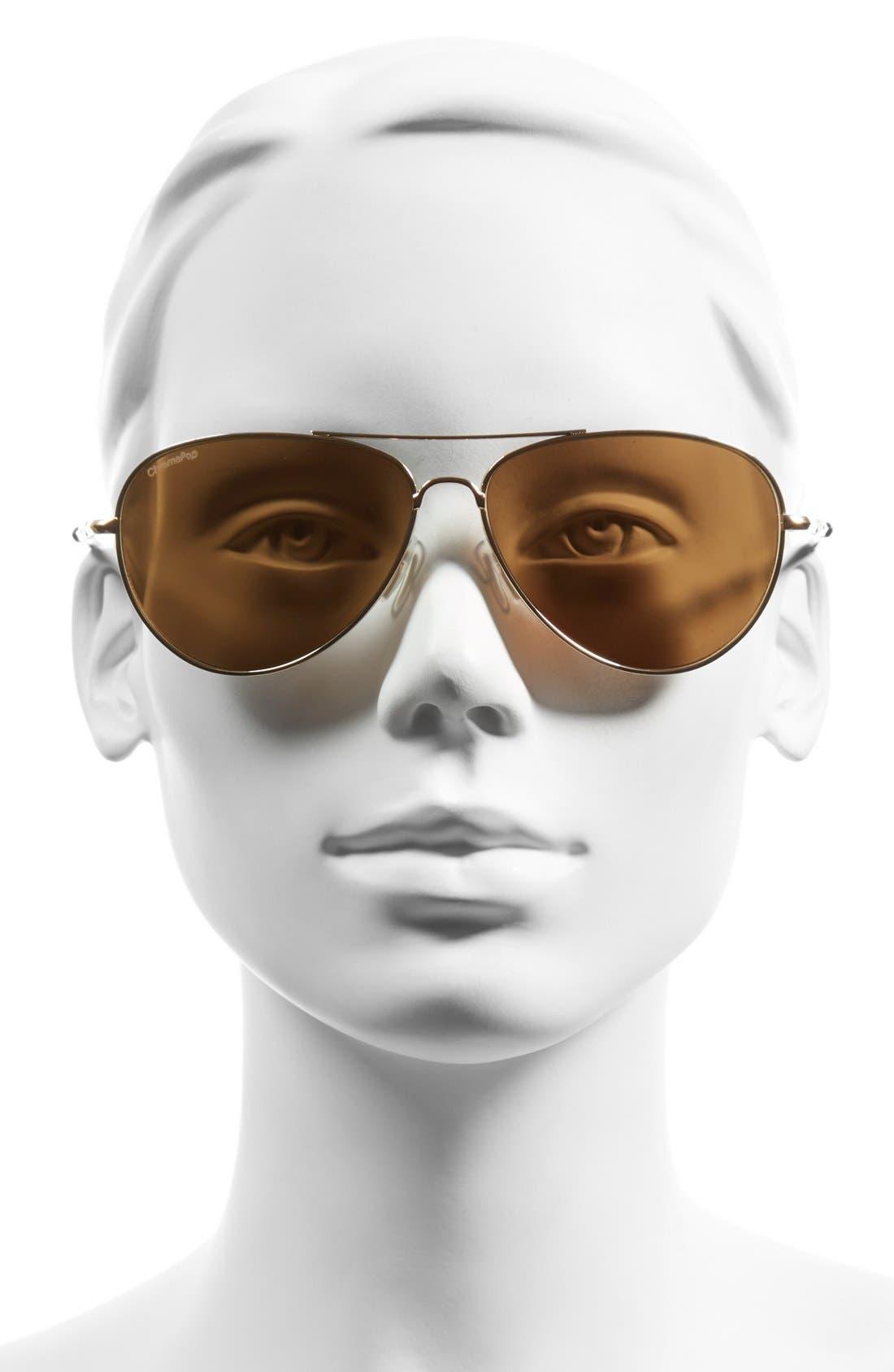 'Audible - ChromaPop' 60mm Polarized Aviator Sunglasses,                             Alternate thumbnail 2, color,                             Gold/ Polar Bronze Mirror