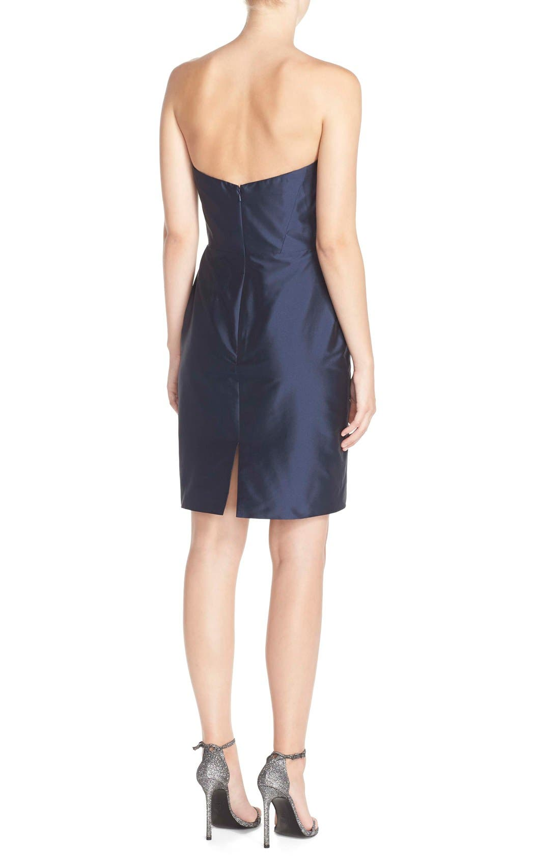 Alternate Image 3  - Monique Lhuillier Bridesmaids Strapless Taffeta Sheath Dress