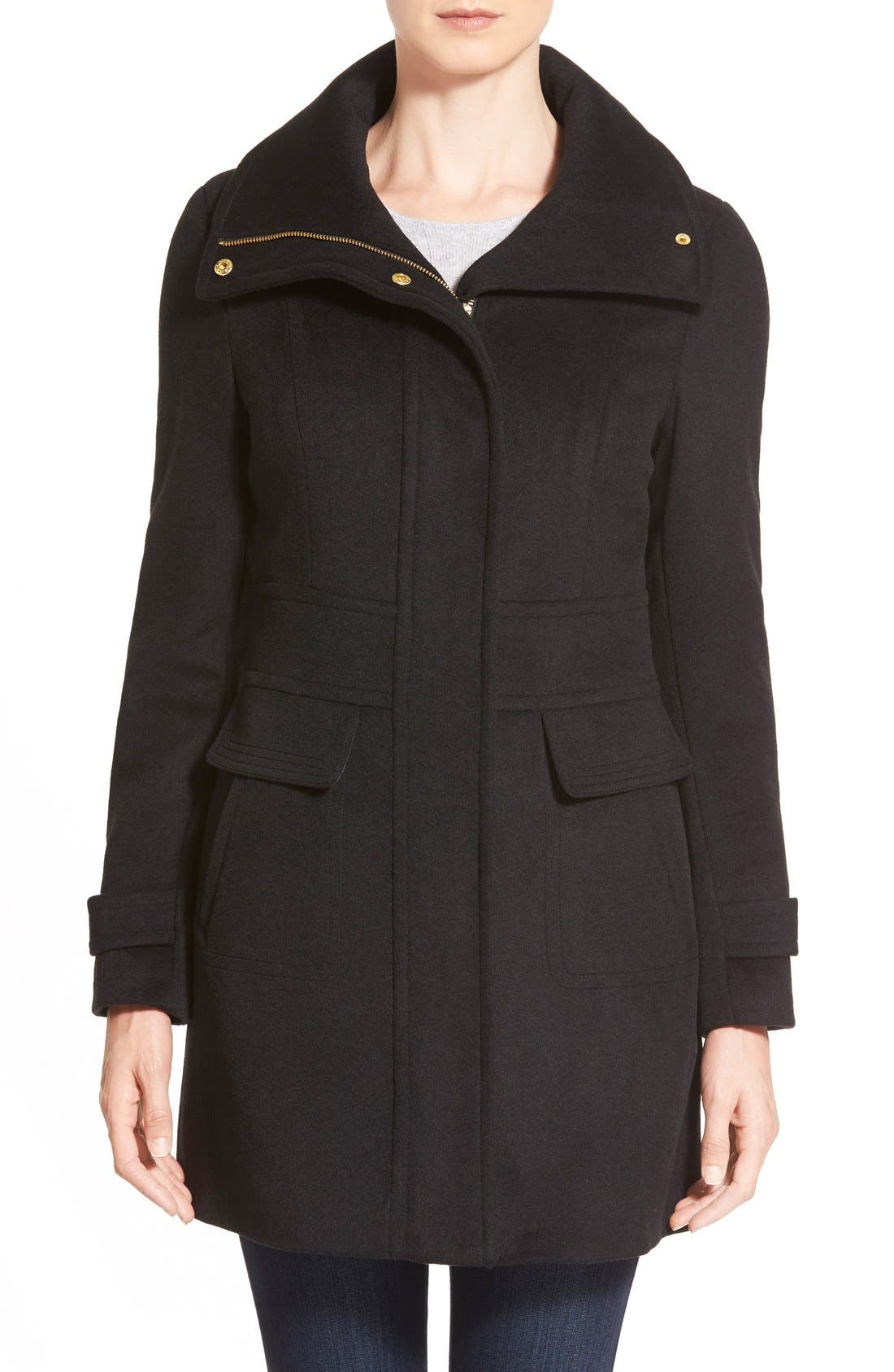 Main Image - Cole Haan Signature Stand Collar Wool Blend Coat