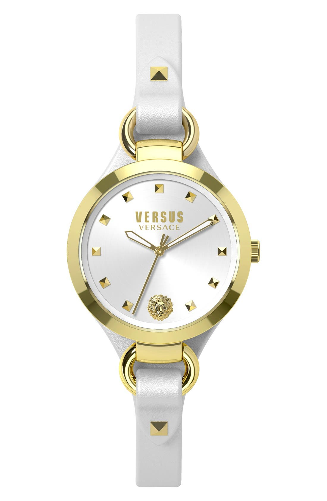 Main Image - VERSUS by Versace 'Roslyn' Leather Strap Watch, 34mm