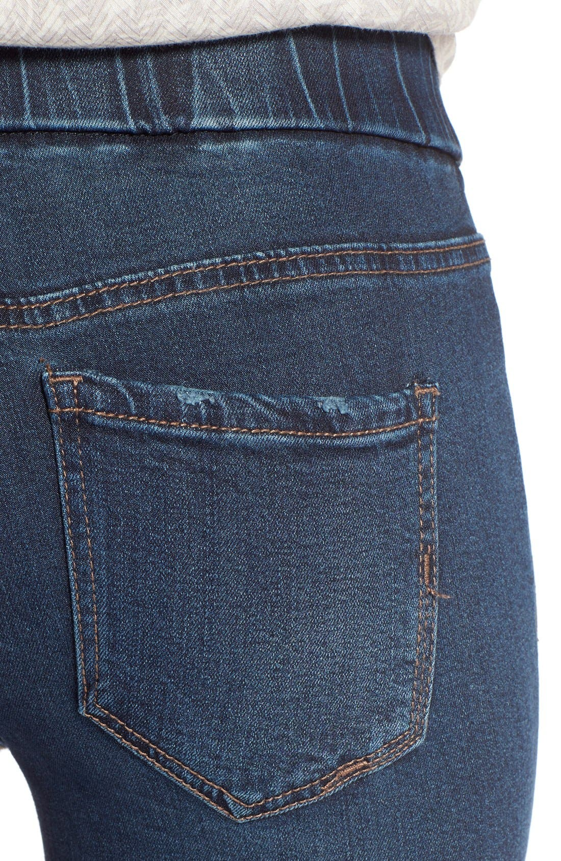 Sienna Pull-On Knit Denim Leggings,                             Alternate thumbnail 4, color,                             Petrol Wash
