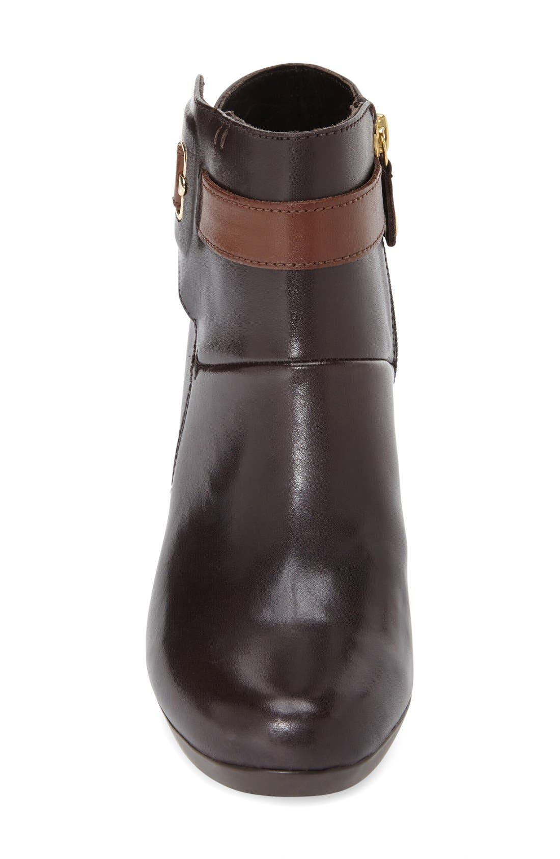 'Inspiration' Bootie,                             Alternate thumbnail 3, color,                             Dark Brown Smooth Leather