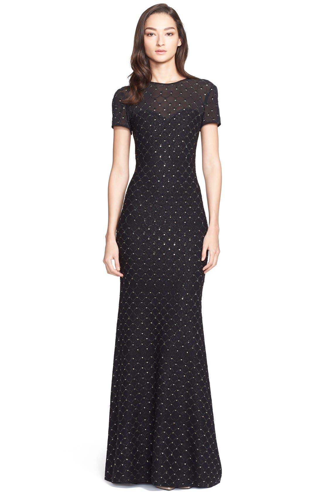 Main Image - St. John Collection Embellished Shimmer Knit Gown