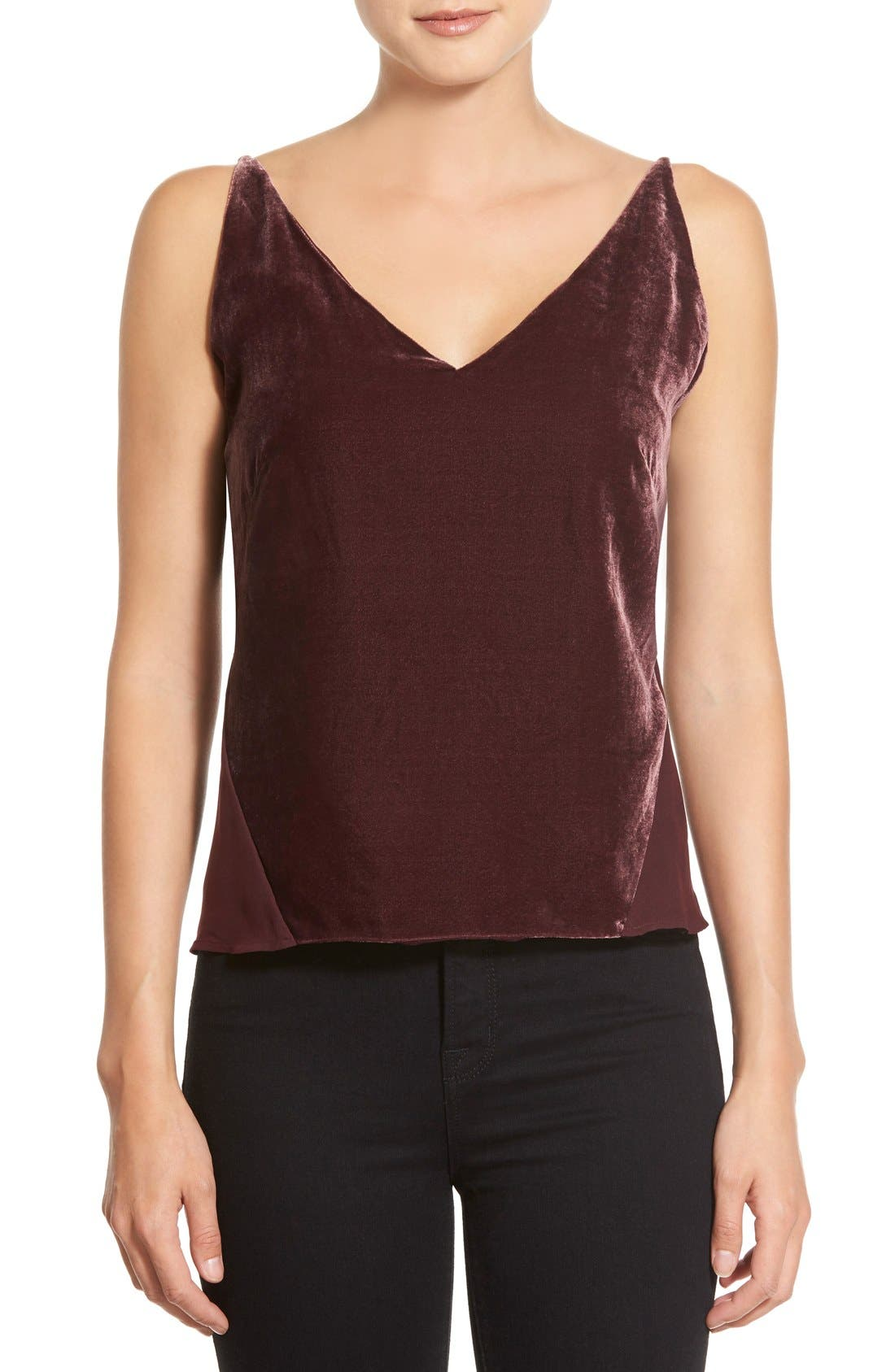 Alternate Image 1 Selected - J Brand 'Lucy' Velvet Front Camisole