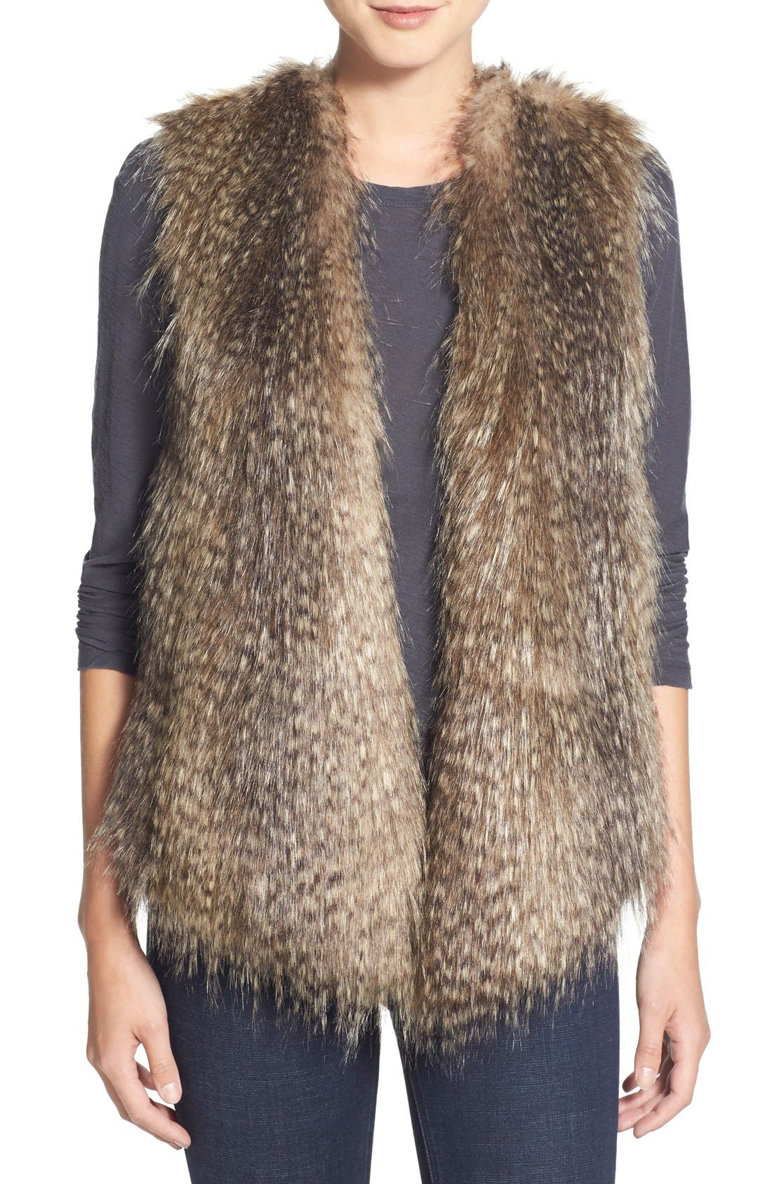 Alternate Image 1 Selected - Ella Moss 'Lyla' Faux Fur Knit Back Vest