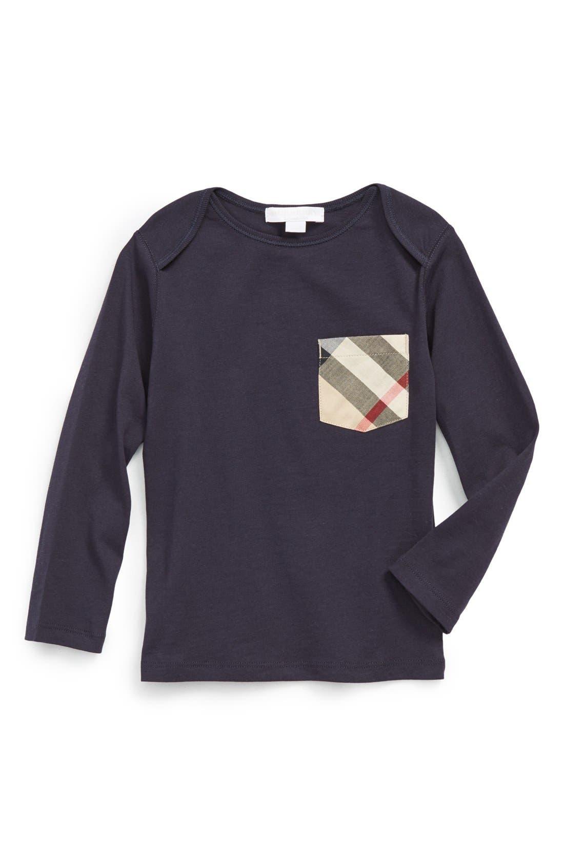 Main Image - Burberry 'Callum' Check Print Chest Pocket T-Shirt (Baby Boys)