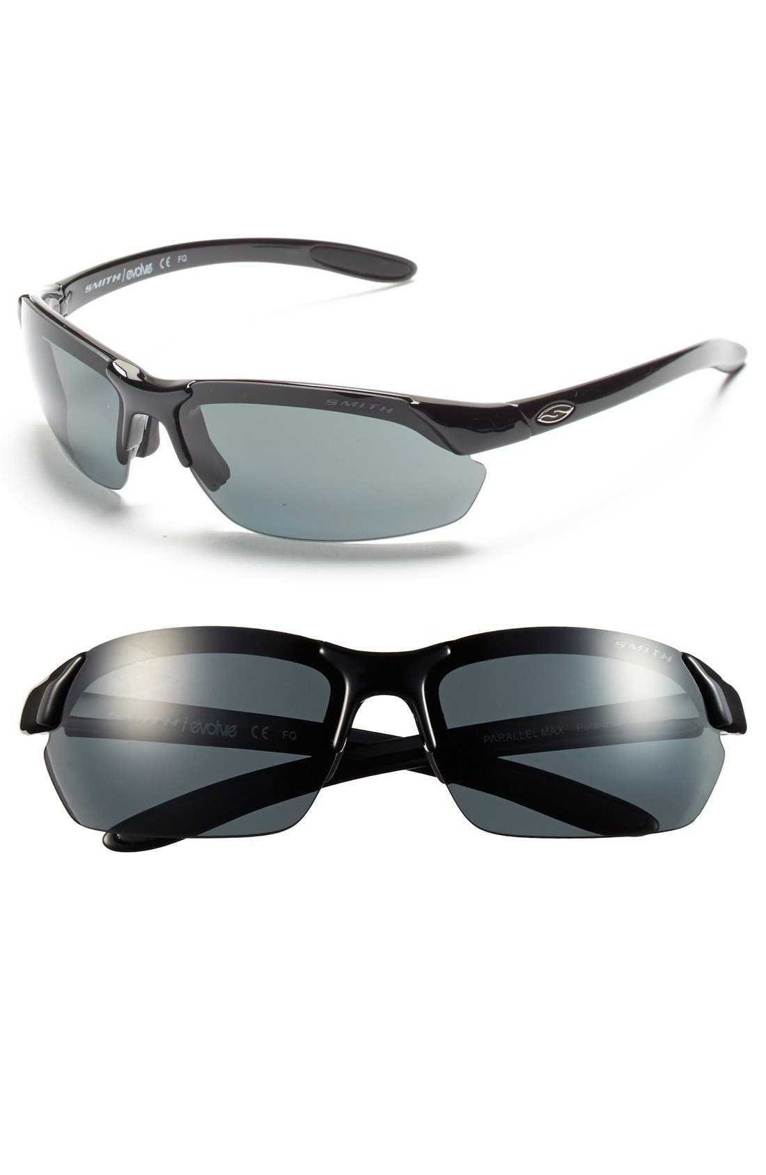 'Parallel Max' 65mm Polarized Sunglasses,                             Main thumbnail 1, color,                             Black/ Polar Grey/ Clear