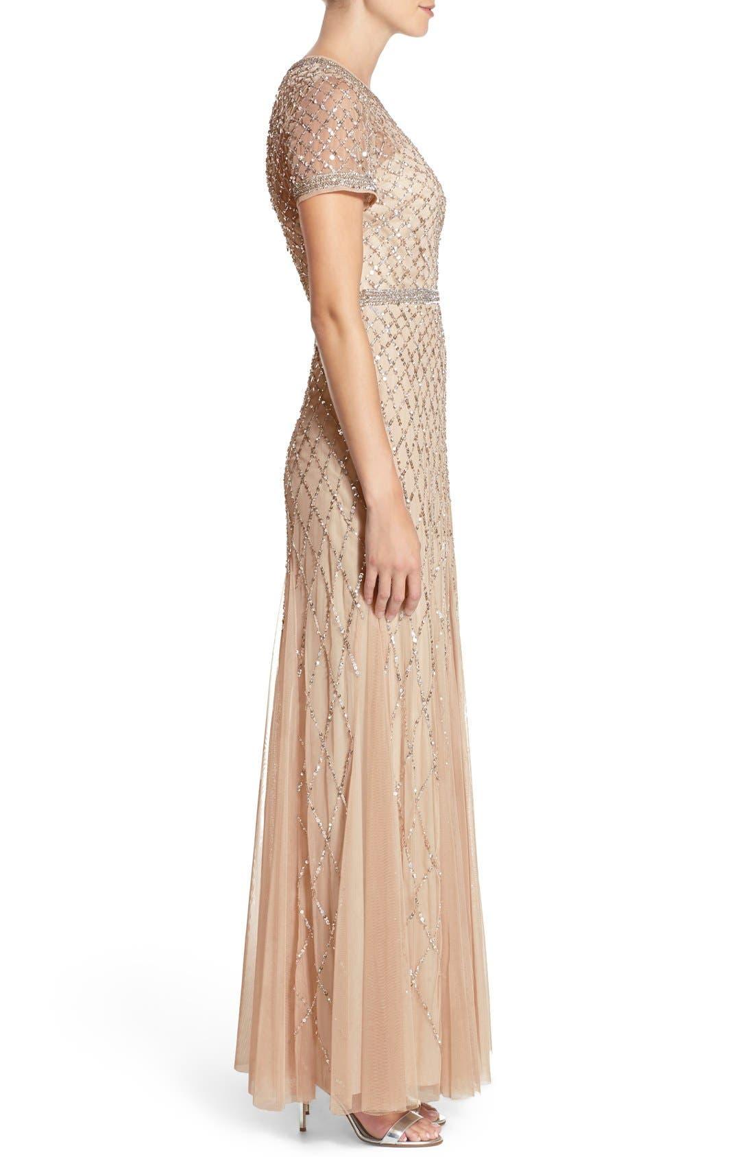 Alternate Image 3  - Adrianna Papell Beaded Mesh Gown (Regular & Petite)