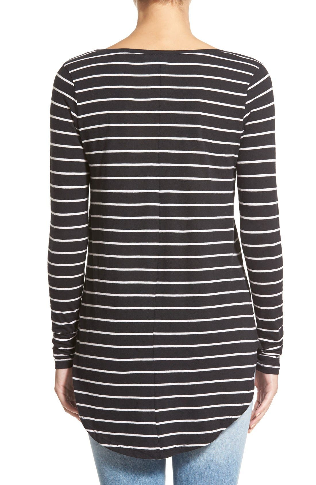 Stripe High/Low Tee,                             Alternate thumbnail 2, color,                             Black Tawny Stripe