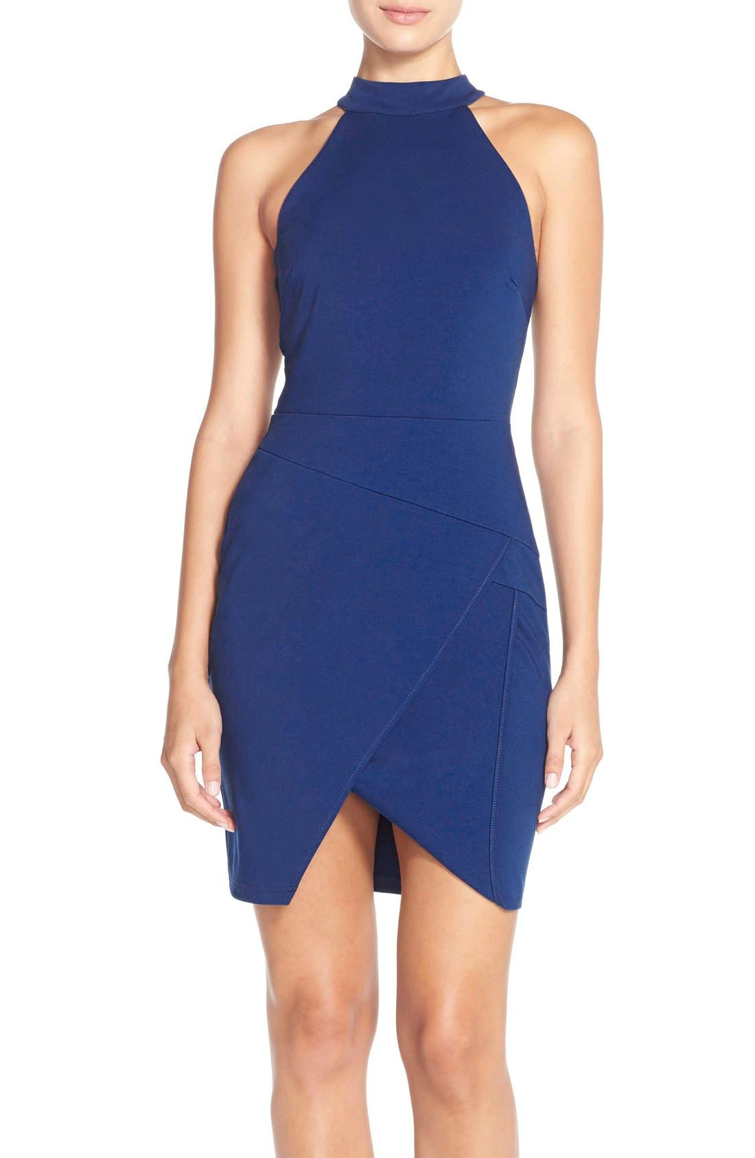 Main Image - Adelyn Rae Split Front Ponte Body-Con Dress