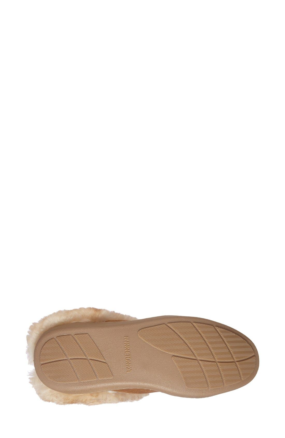 Sheepskin Mule Slipper,                             Alternate thumbnail 4, color,                             Tan Suede