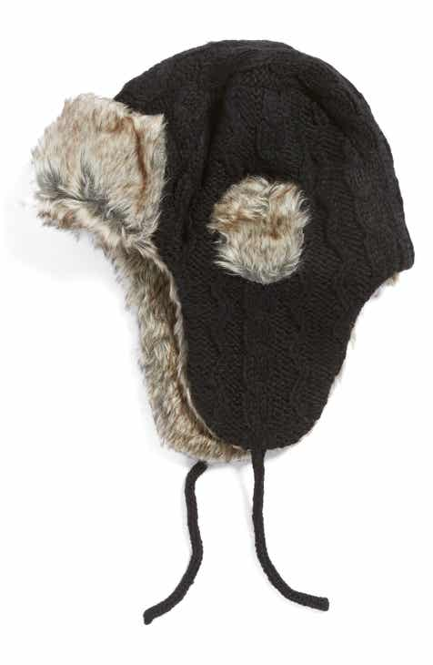 bf8125a4a6c Nirvanna Designs Cable Knit Ear Flap Hat with Faux Fur Trim