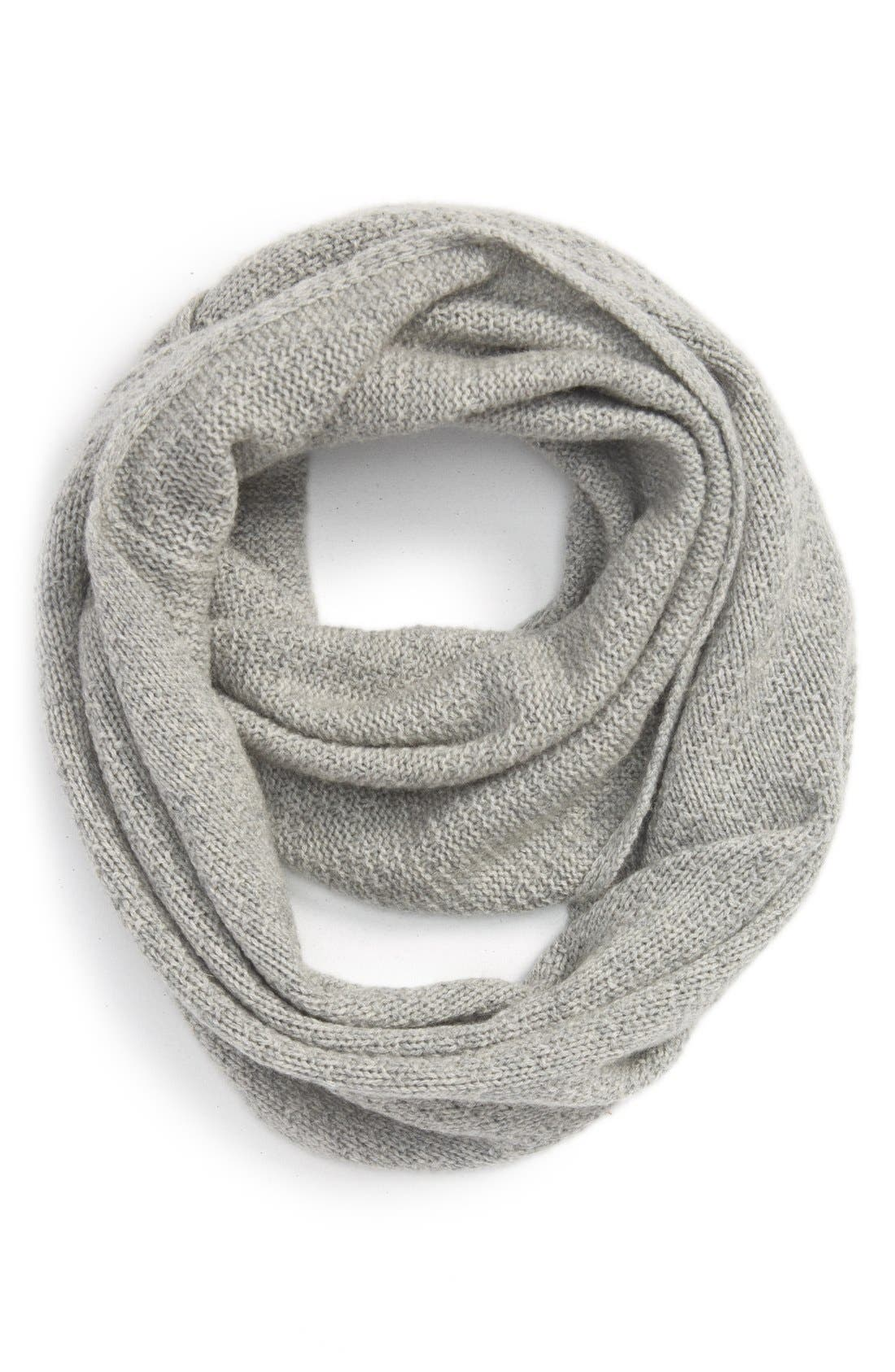 Pointelle Knit Wool & Cashmere Infinity Scarf,                         Main,                         color, Grey Medium Heather