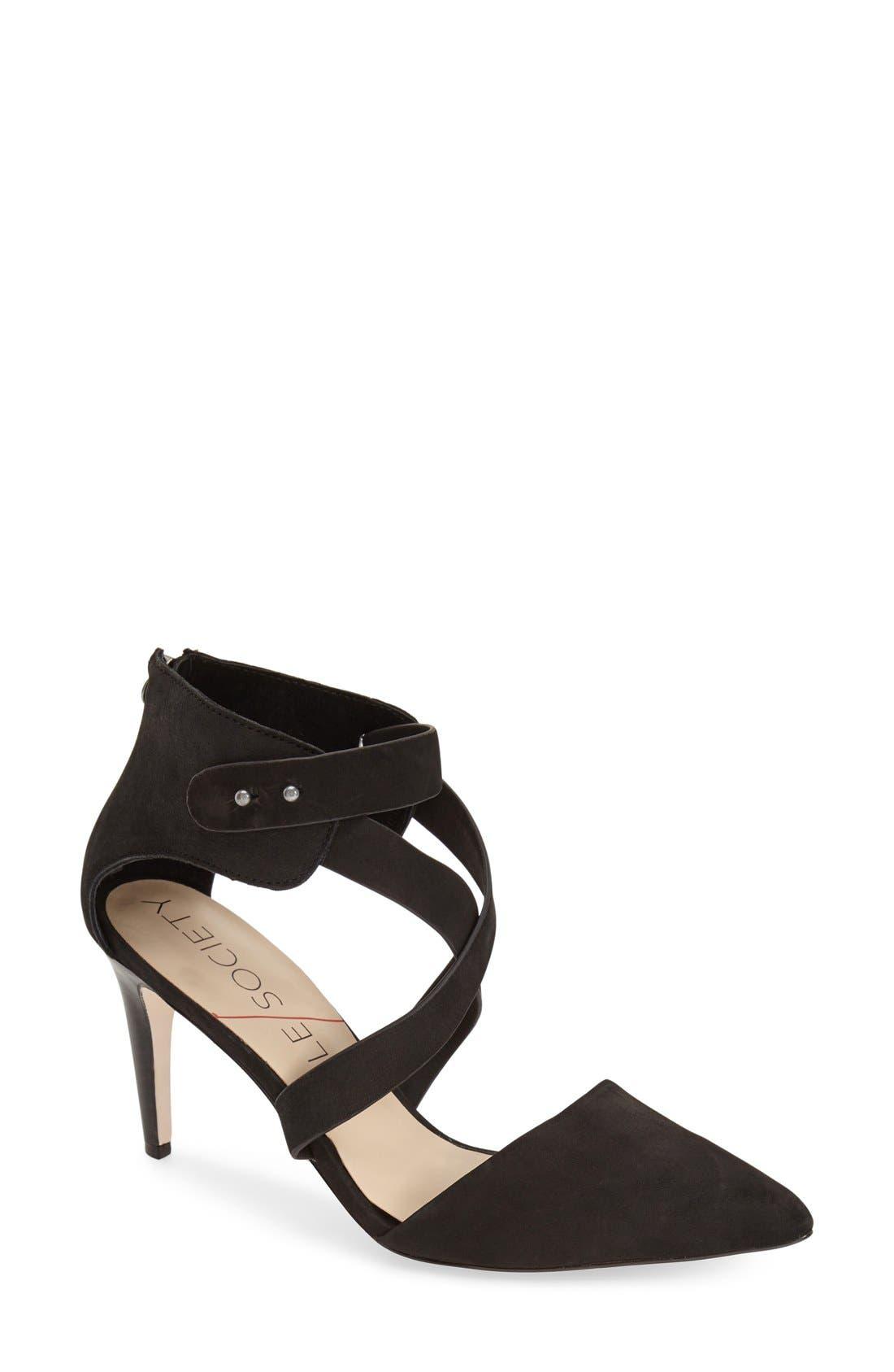 'Tina' Pump,                             Main thumbnail 1, color,                             Black Nubuck Leather