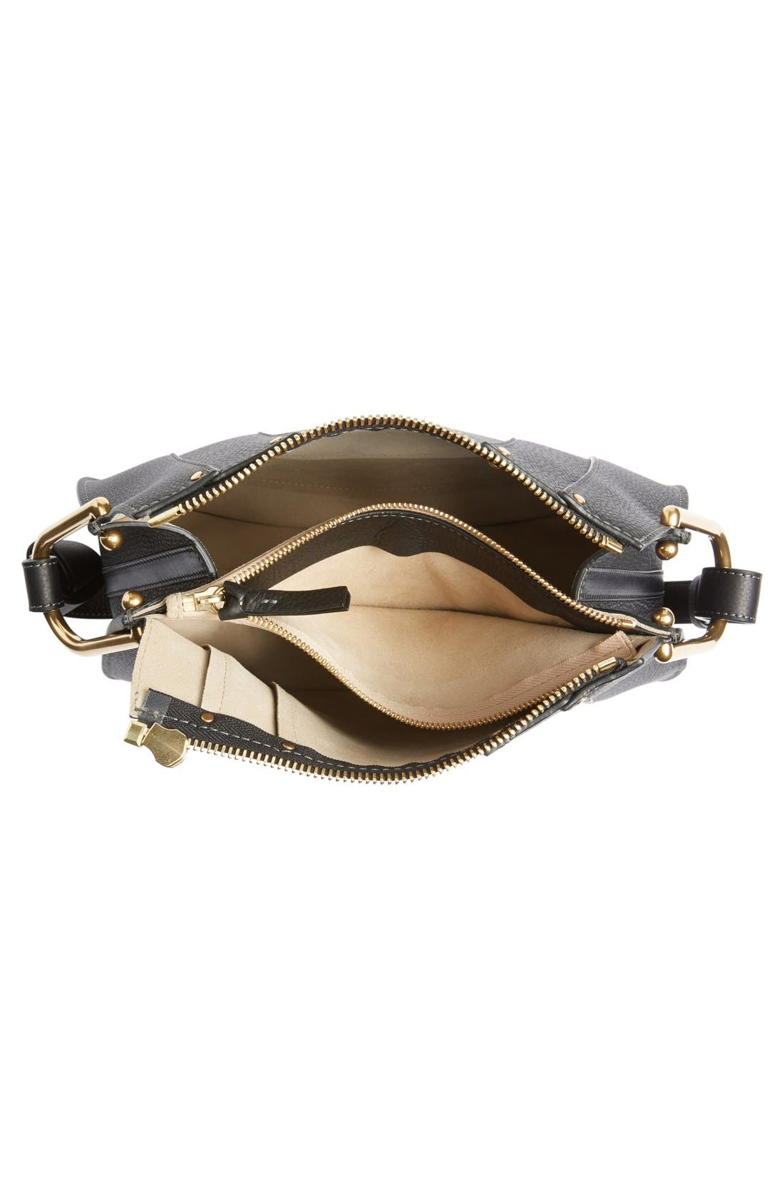 'Small Hayley' Leather Hobo Bag,                             Alternate thumbnail 4, color,                             Black