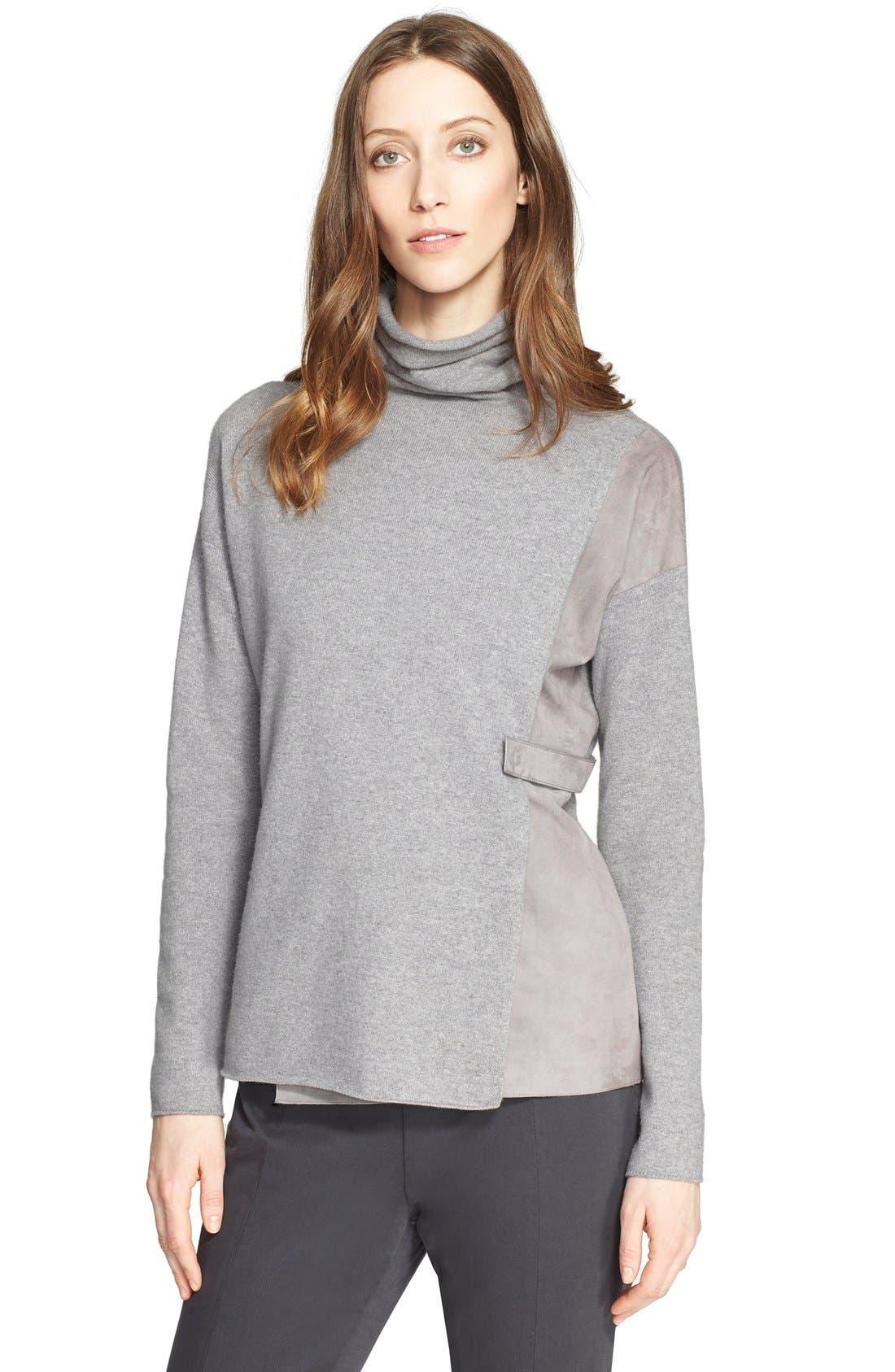 Alternate Image 1 Selected - Fabiana Filippi Suede Contrast Wool Blend Turtleneck Sweater
