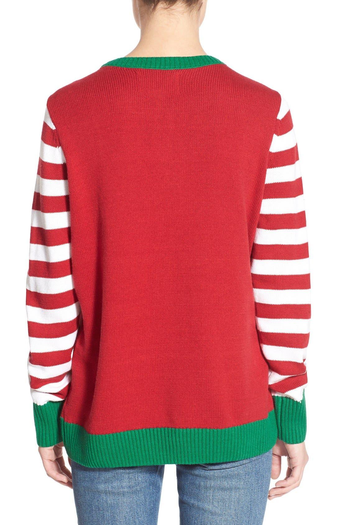 Alternate Image 2  - Ugly Christmas Sweater Light-Up Christmas Tree Sweater