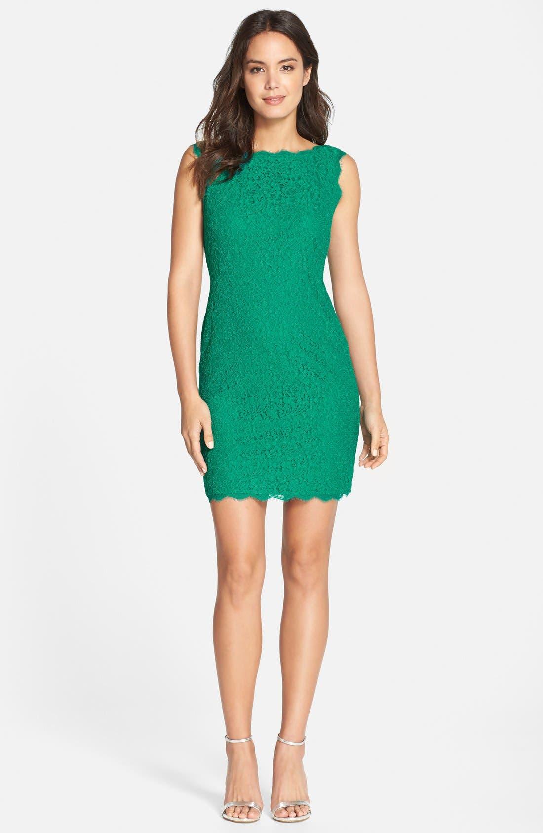 Alternate Image 6  - Adrianna Papell Boatneck Lace Sheath Dress (Regular & Petite)