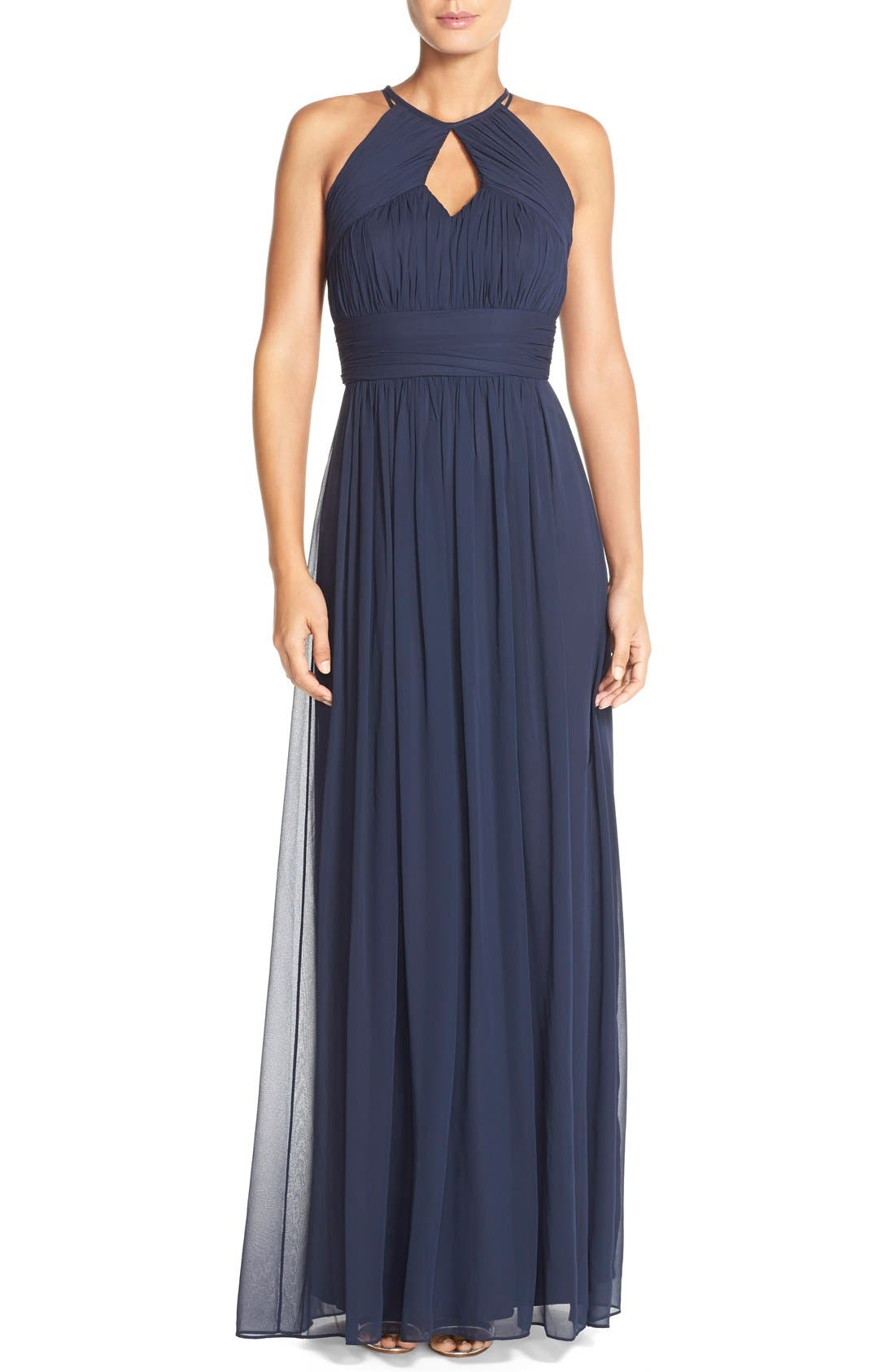 DessyCollection RuchedChiffon Keyhole Halter Gown,                         Main,                         color, Midnight