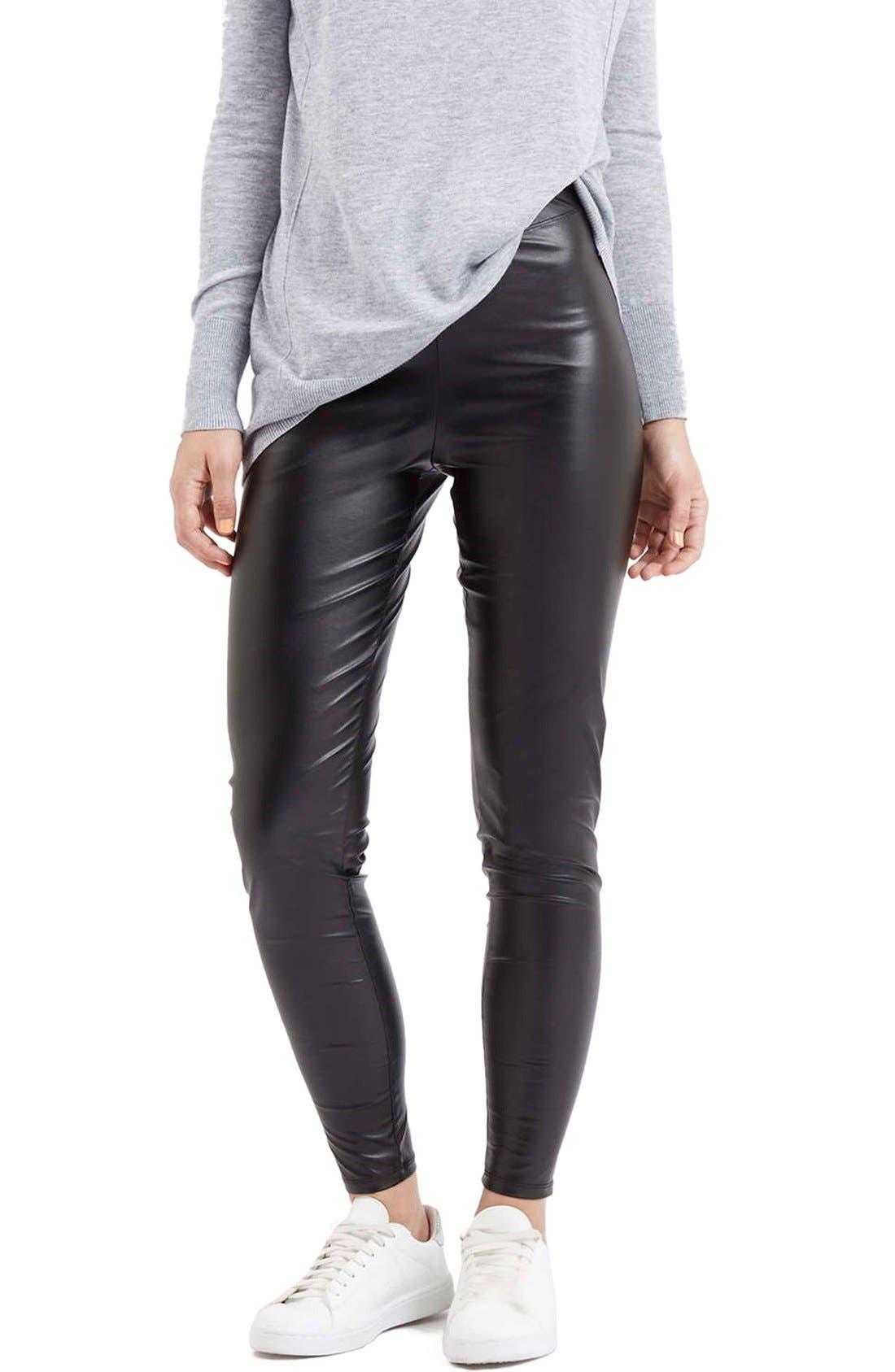'Wet Look' Leggings,                         Main,                         color, Black