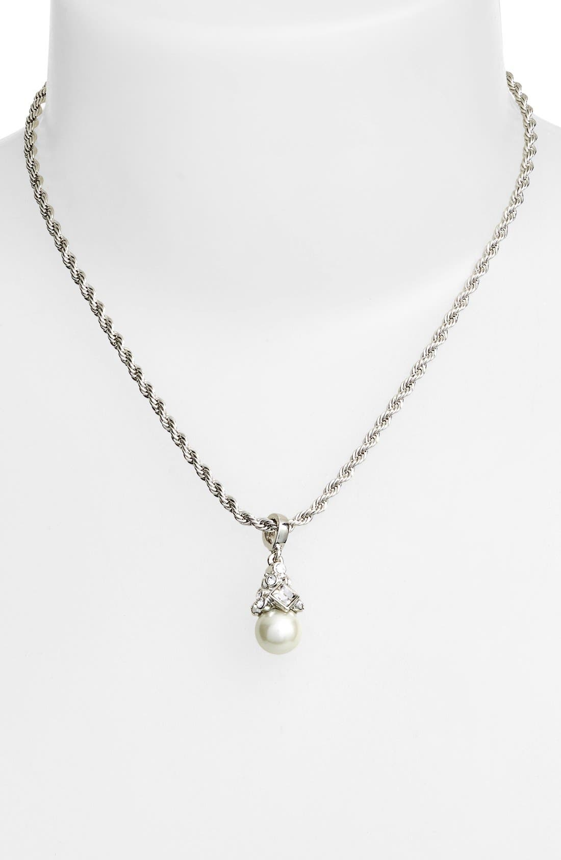 Imitation Pearl Pendant Necklace,                             Alternate thumbnail 2, color,                             Silver