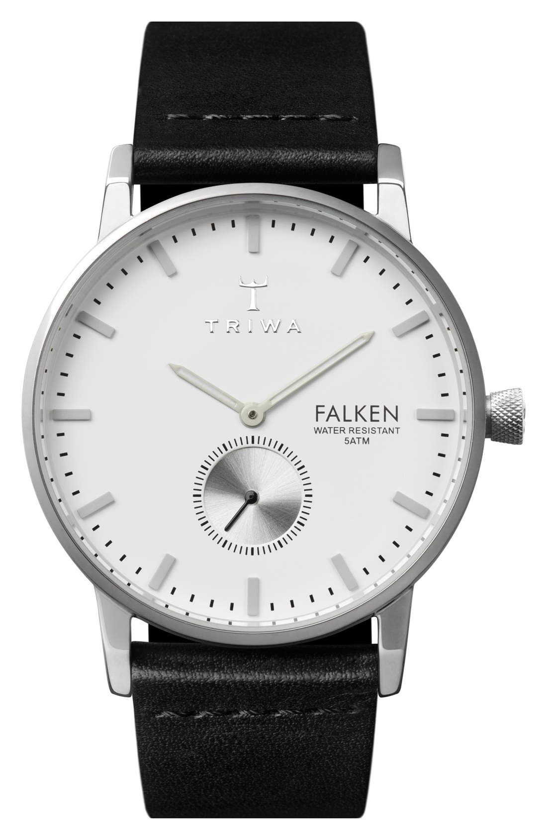 Ivory Falken Organic Leather Strap Watch, 38mm,                         Main,                         color, Black/ Silver/ White