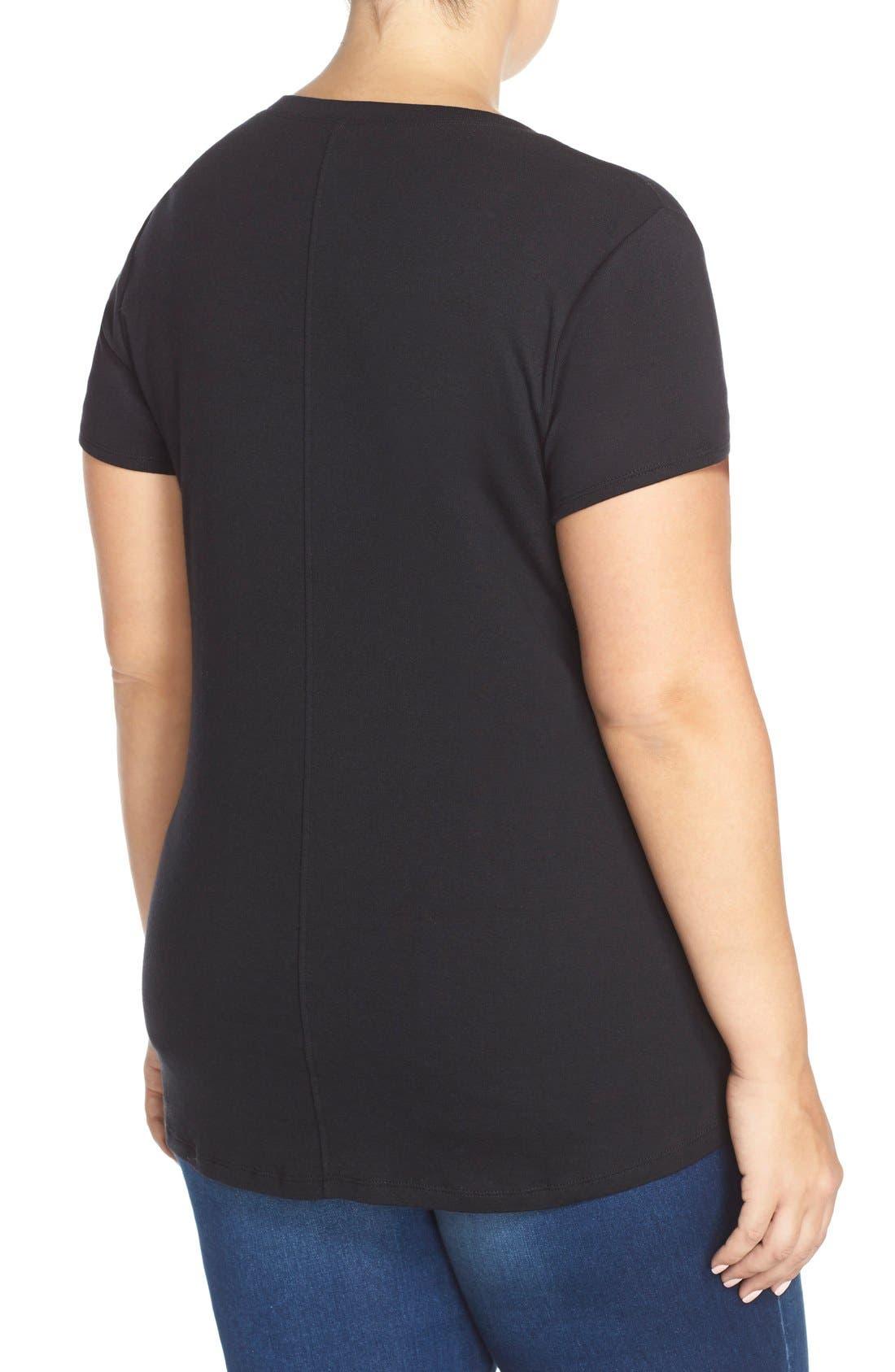 Alternate Image 2  - Sejour Short Sleeve V-Neck Tee (Plus Size)