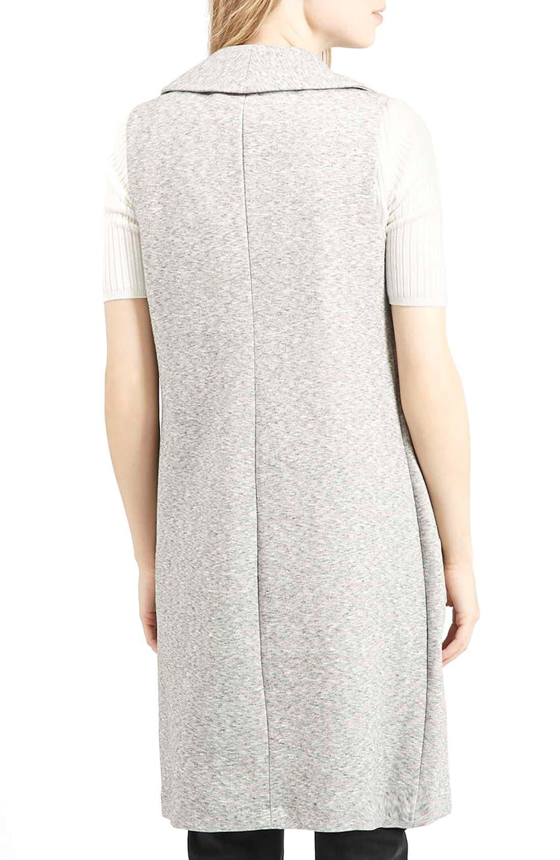 Marled Longline Vest,                             Alternate thumbnail 3, color,                             Light Grey