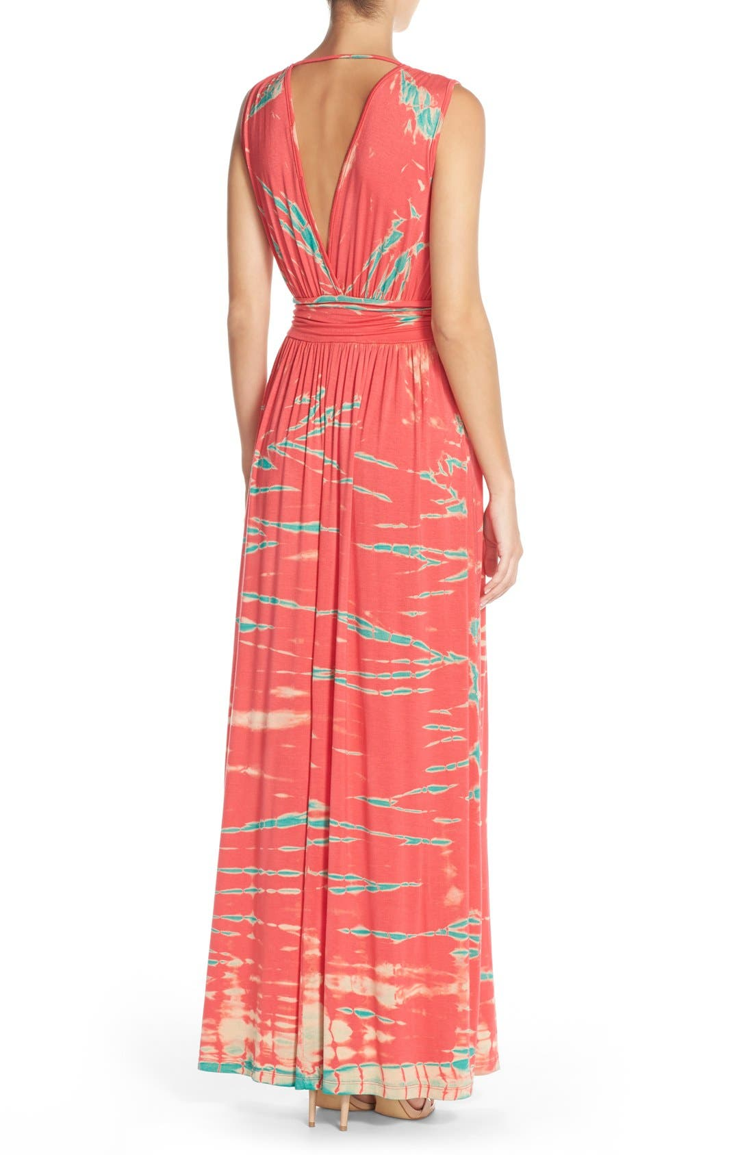Tie Dye Ombré Jersey Maxi Dress,                             Alternate thumbnail 2, color,                             Pink/ Mint Special