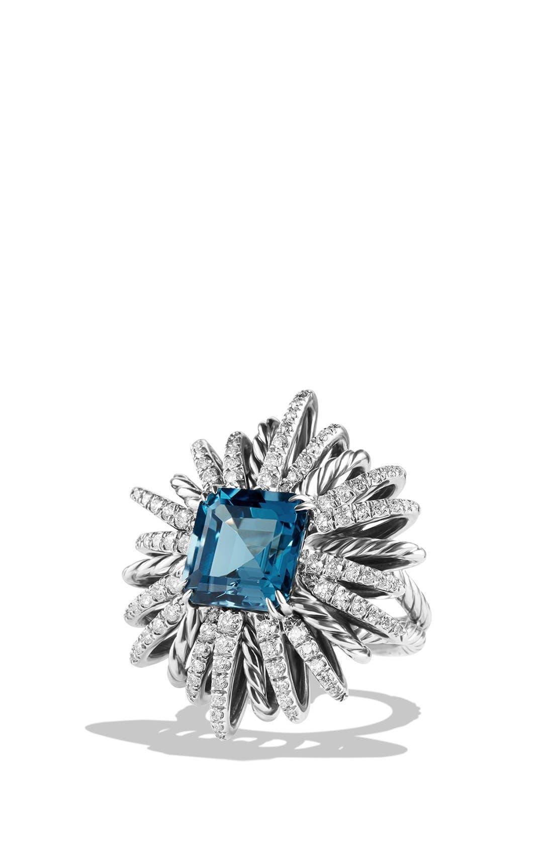 'Starburst' Ring with Semiprecious Stone and Diamonds,                             Main thumbnail 1, color,                             Hampton Blue Topaz