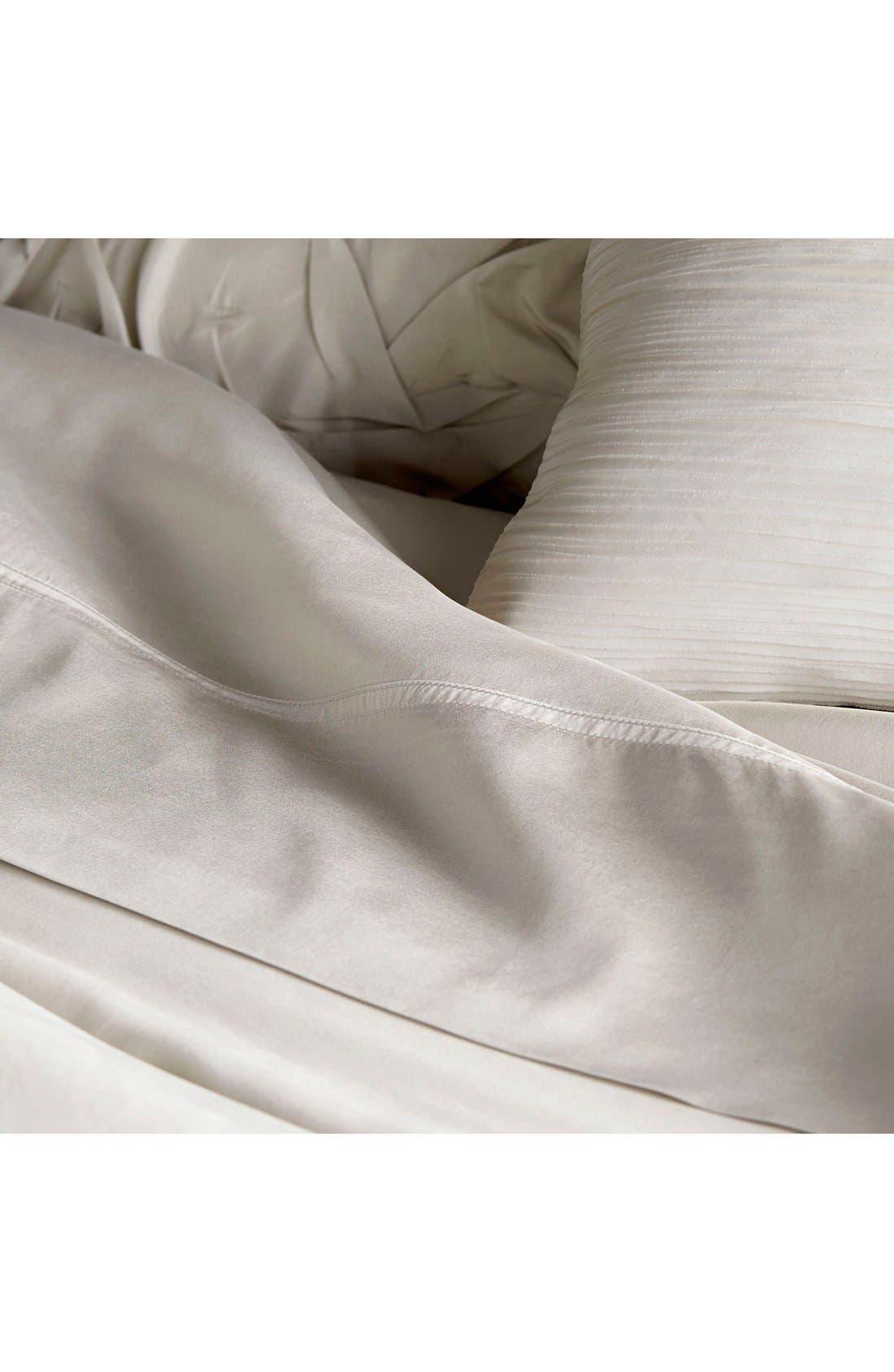 Donna Karan Collection 'Silk Essentials' Habutai Silk Fitted Sheet,                             Alternate thumbnail 2, color,                             Platinum