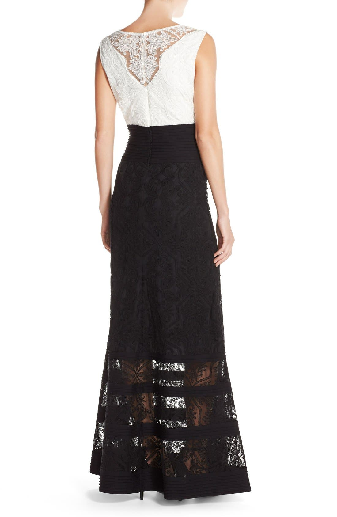 Embroidered Tulle Fit & Flare Gown,                             Alternate thumbnail 3, color,                             Ivory/ Black