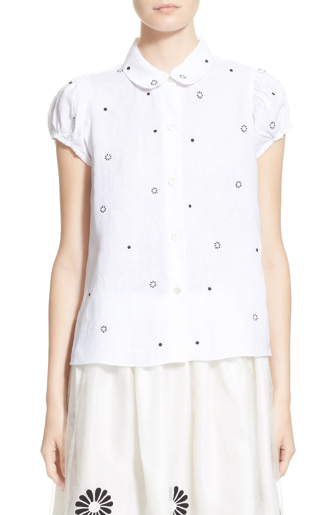 Main Image - Jupe by Jackie 'Letaba' Embroidered Linen Blouse