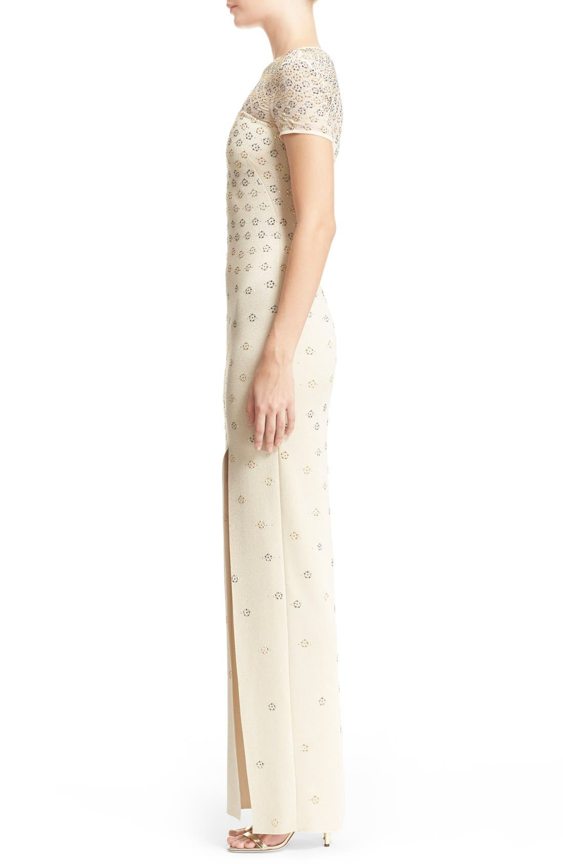 Alternate Image 5  - St. John Collection Crystal Embellished Shimmer Milano Knit Gown