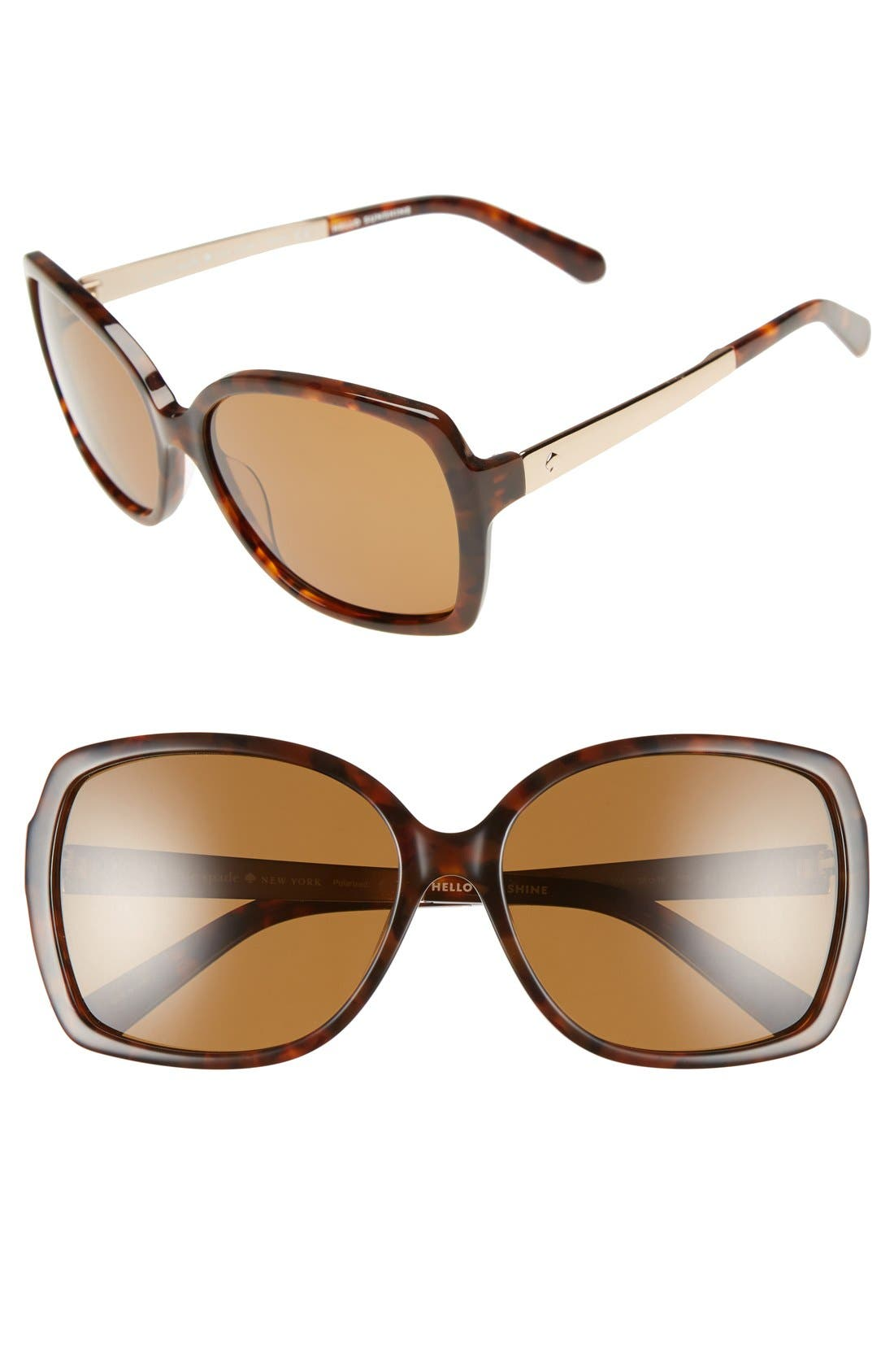 'darilynn' 58mm polarized sunglasses,                             Main thumbnail 1, color,                             Havana/ Brown Polar