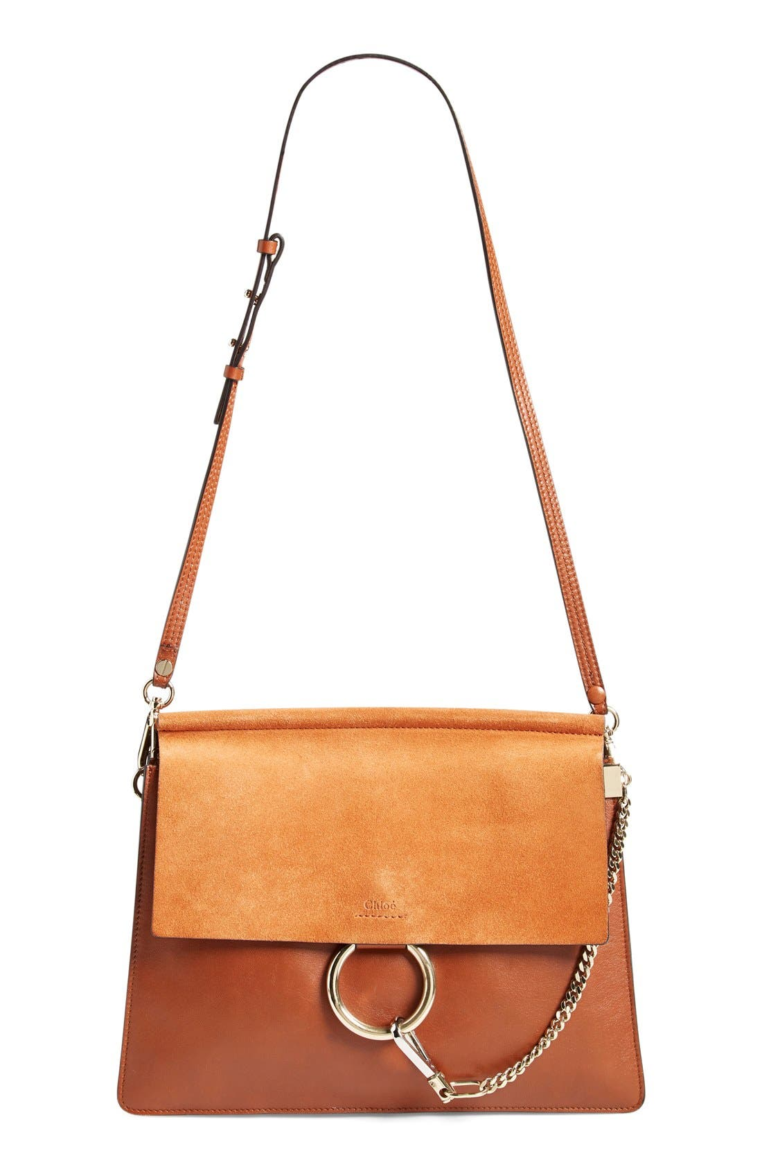 'Faye' Leather & Suede Shoulder Bag,                         Main,                         color, Classic Tobacco
