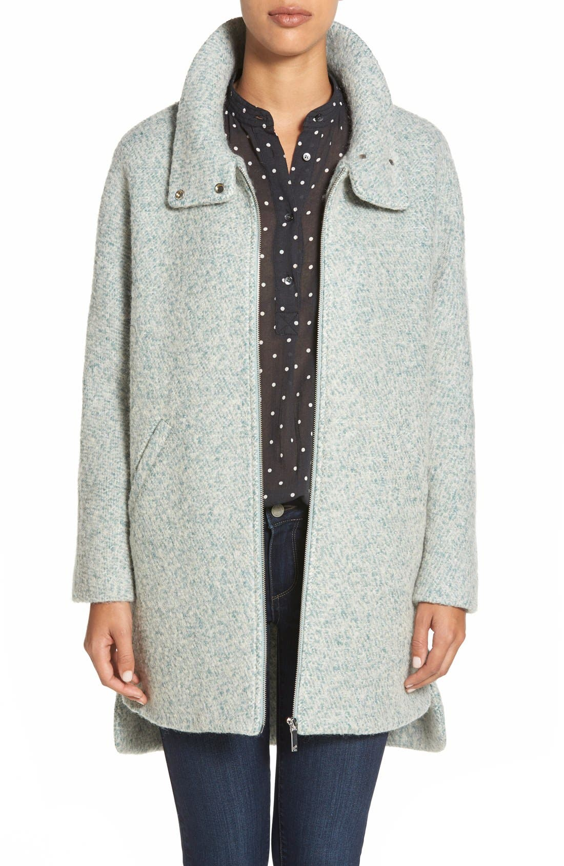 Zip Front Stand Collar Bouclé Coat,                             Main thumbnail 1, color,                             Mint