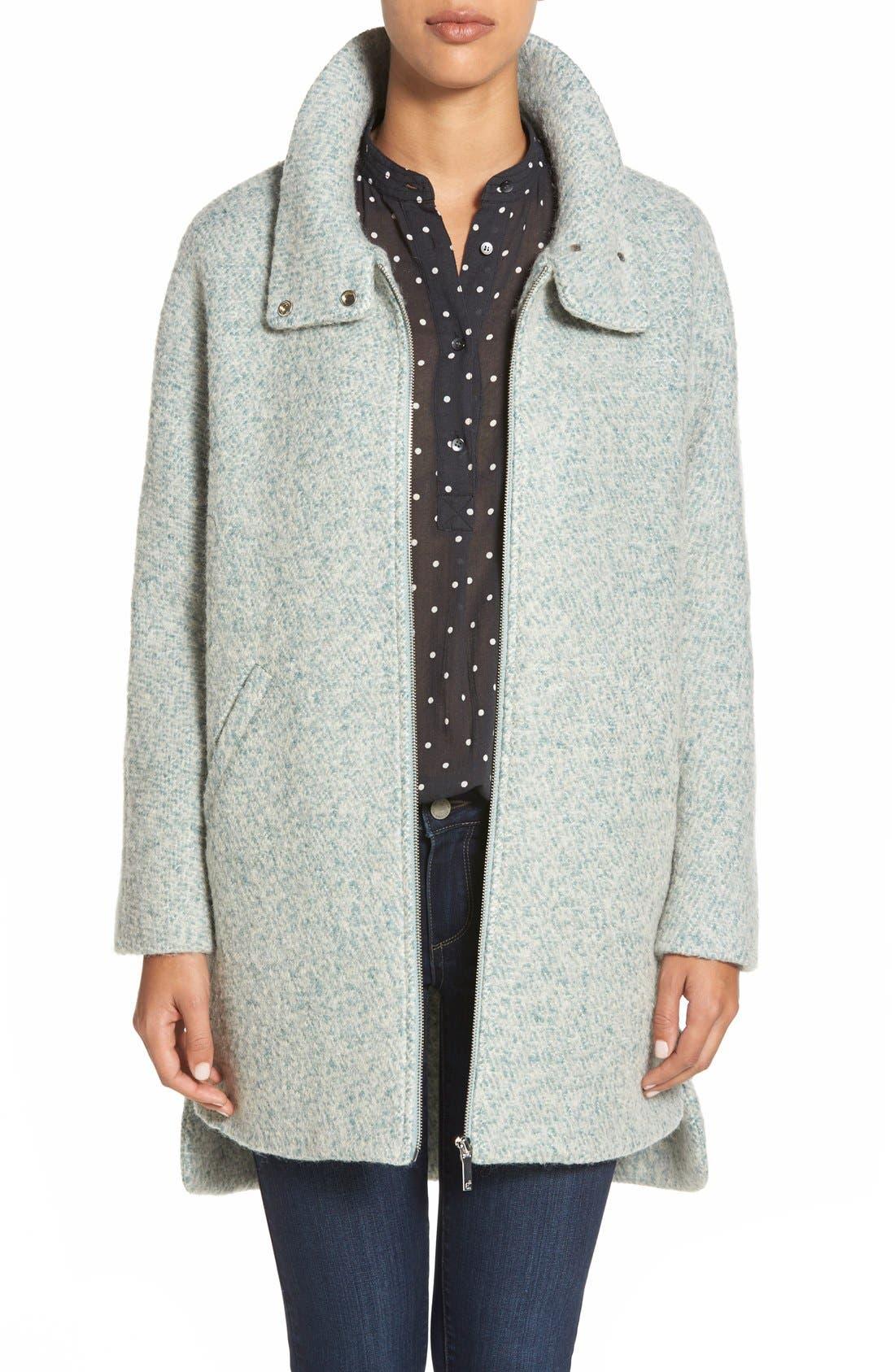 Zip Front Stand Collar Bouclé Coat,                         Main,                         color, Mint