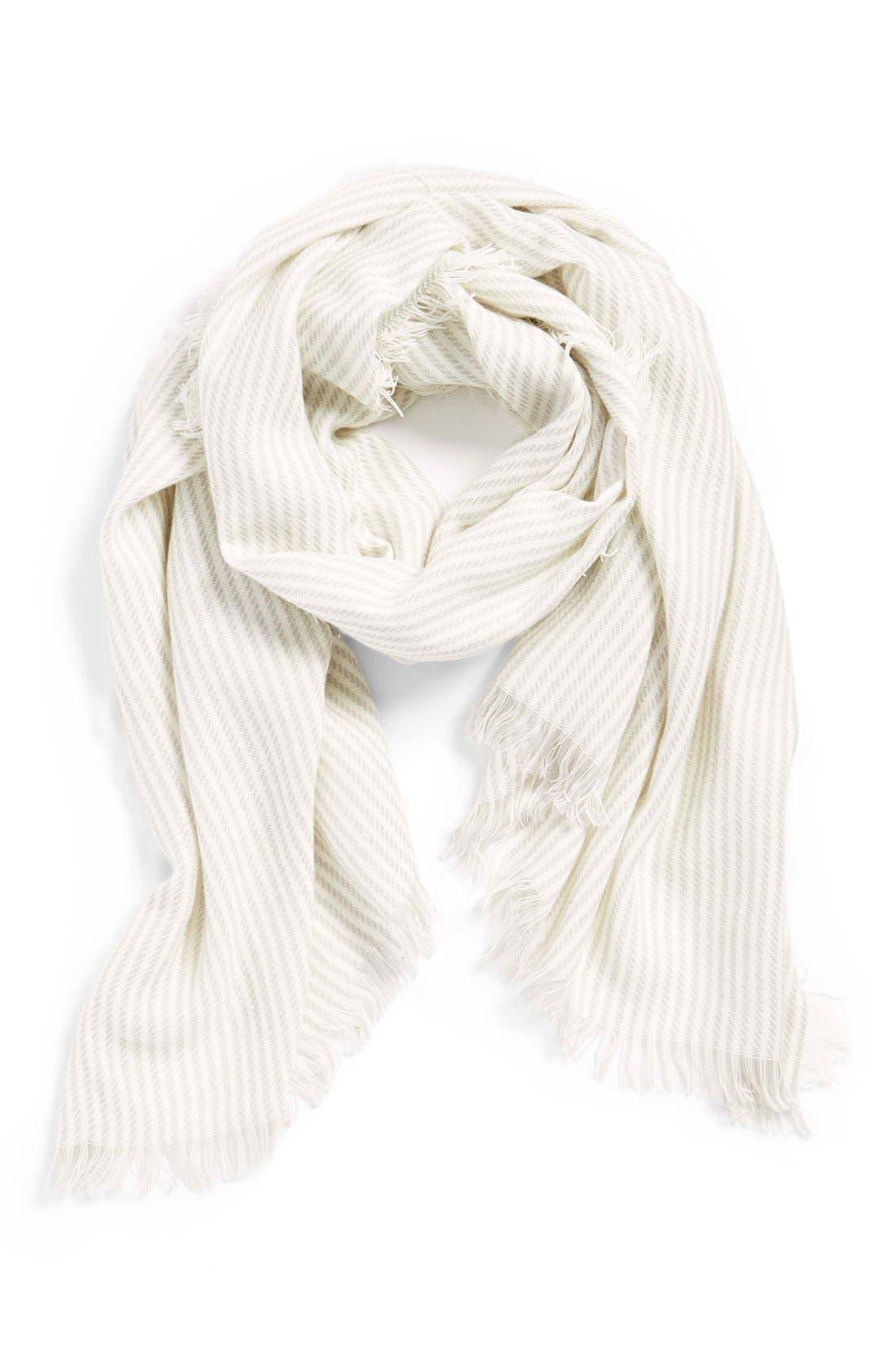 Thin Stripe Scarf,                         Main,                         color, Grey/ Ivory