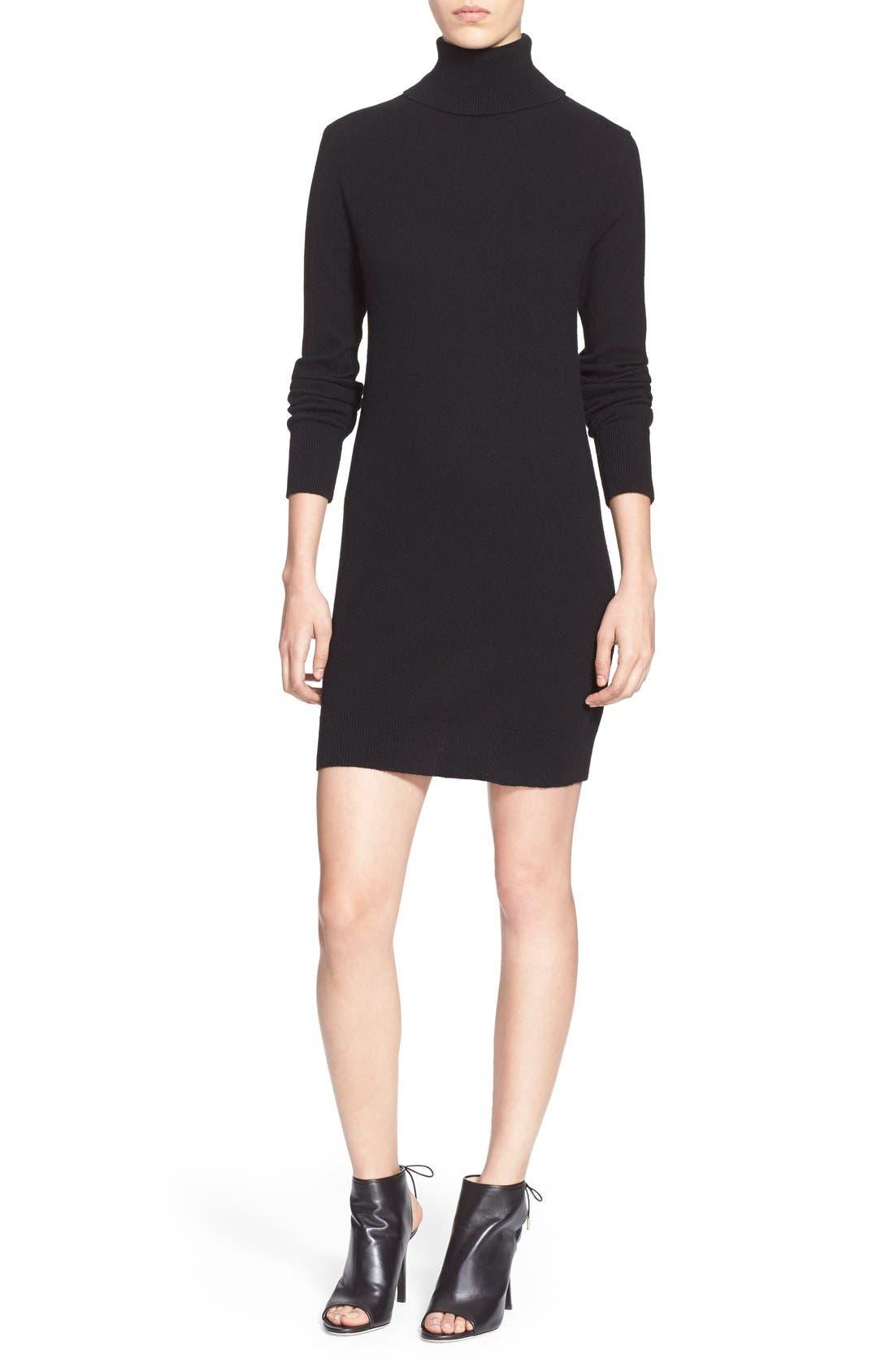 'Oscar' Turtleneck Sweater Dress,                             Main thumbnail 1, color,                             Black