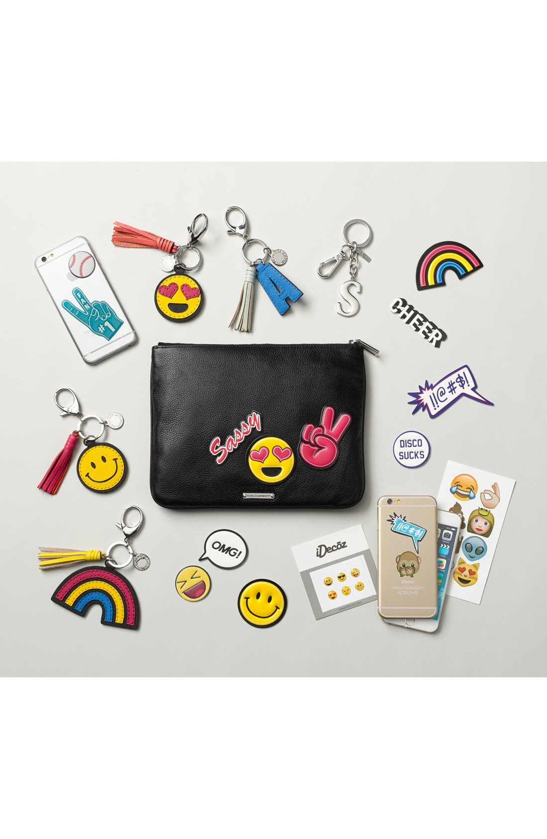 Alternate Image 4  - Rebecca Minkoff 'Good Vibes' Customizable Leather Pouch with Emoji Stickers